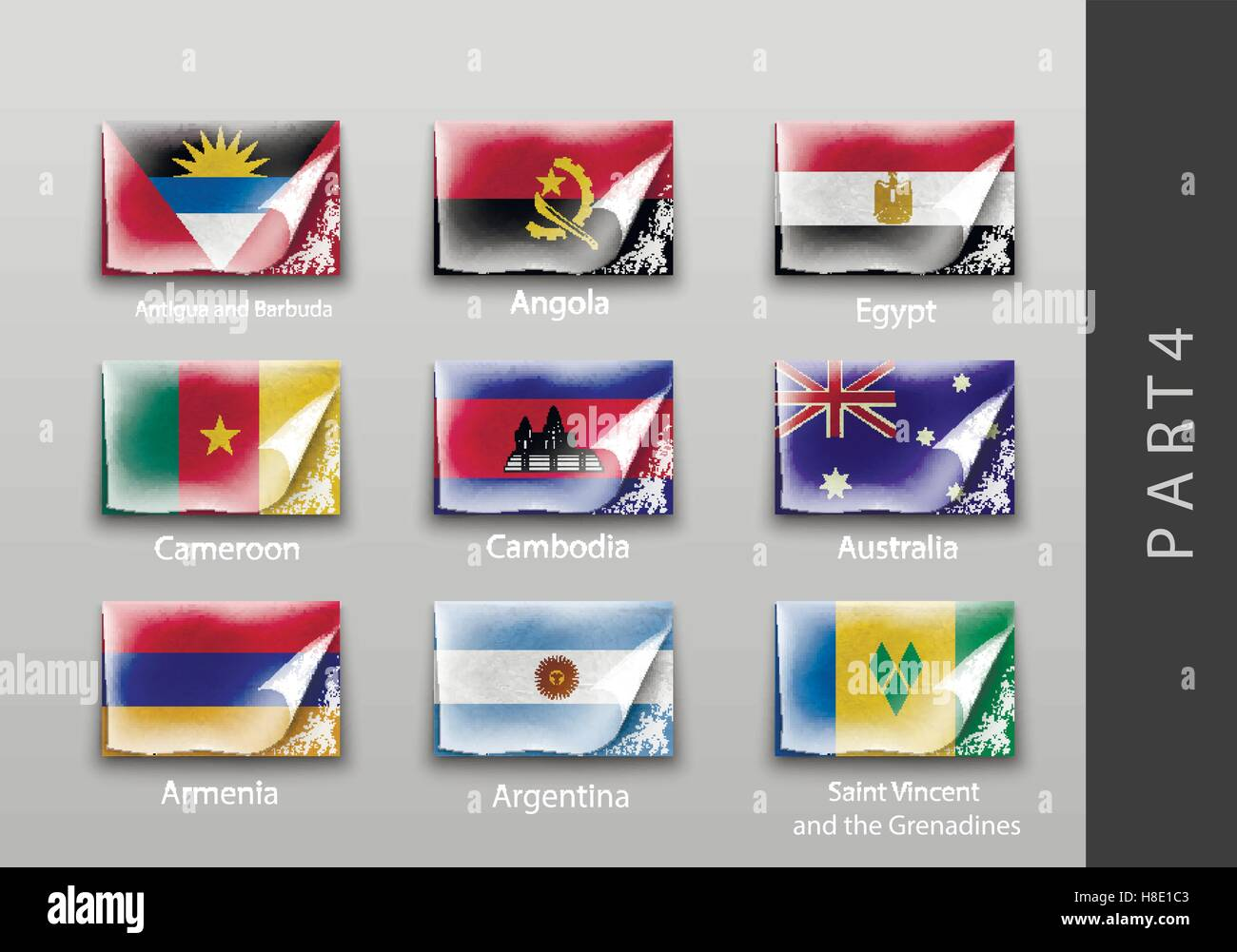 Flags in the form of states with shadows - Stock Image