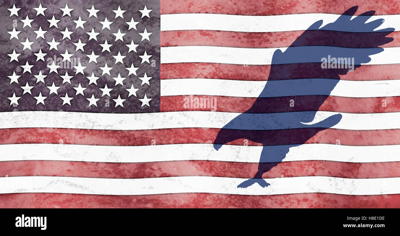 A Silhouette Of An Eagle Flies Across An American Flag The Flag