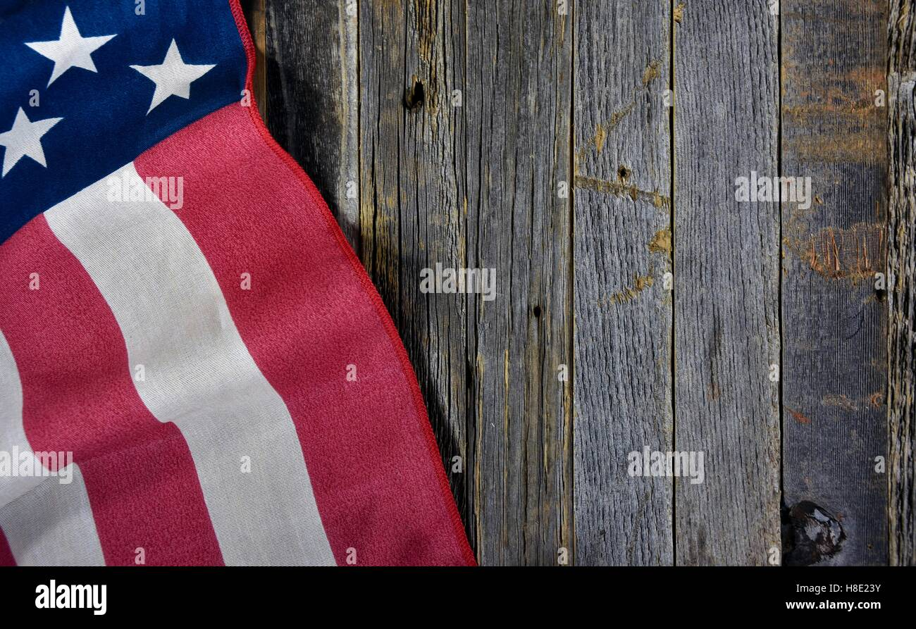 American Flag On Rustic Barn Wood