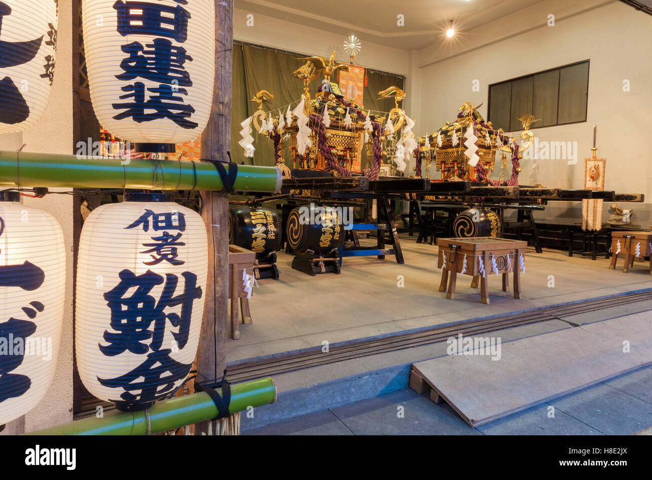 A mobile shrine in its resting place in Asakusa, Tokyo - Stock Image