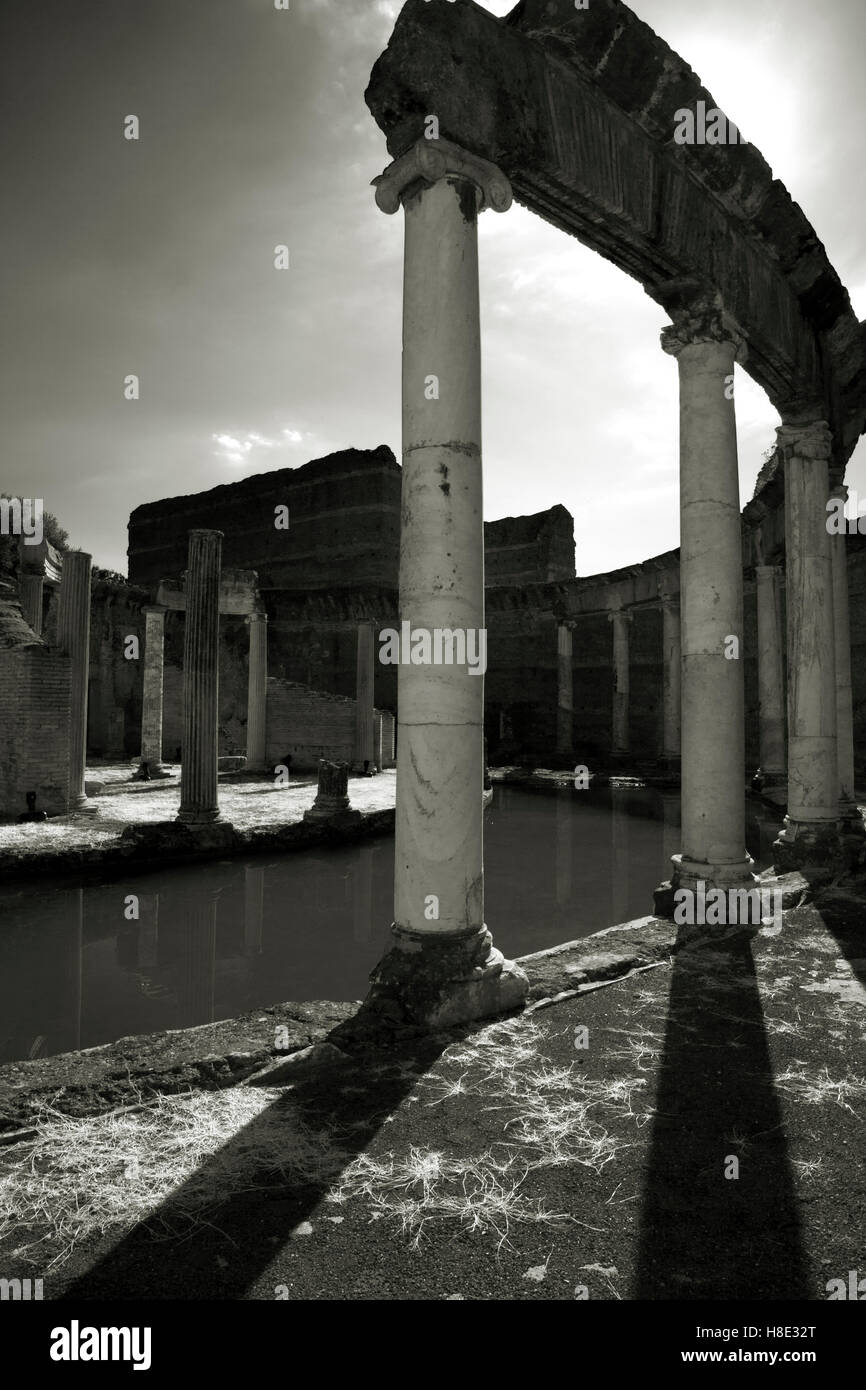 Black and white images of the ancient Roman villa of Emperor Hadrian - Stock Image