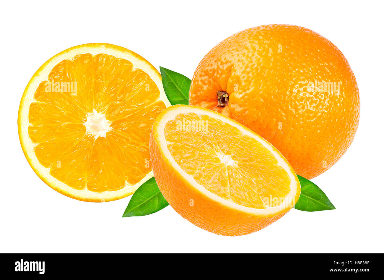 oranges isolated on the white background - Stock Image