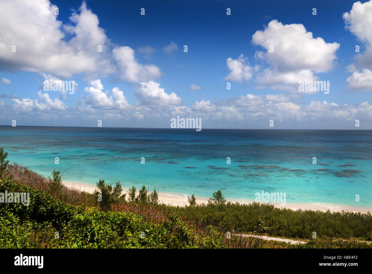 Bermuda Atlantic ocean view from coastline, on a beautiful summer day. - Stock Image