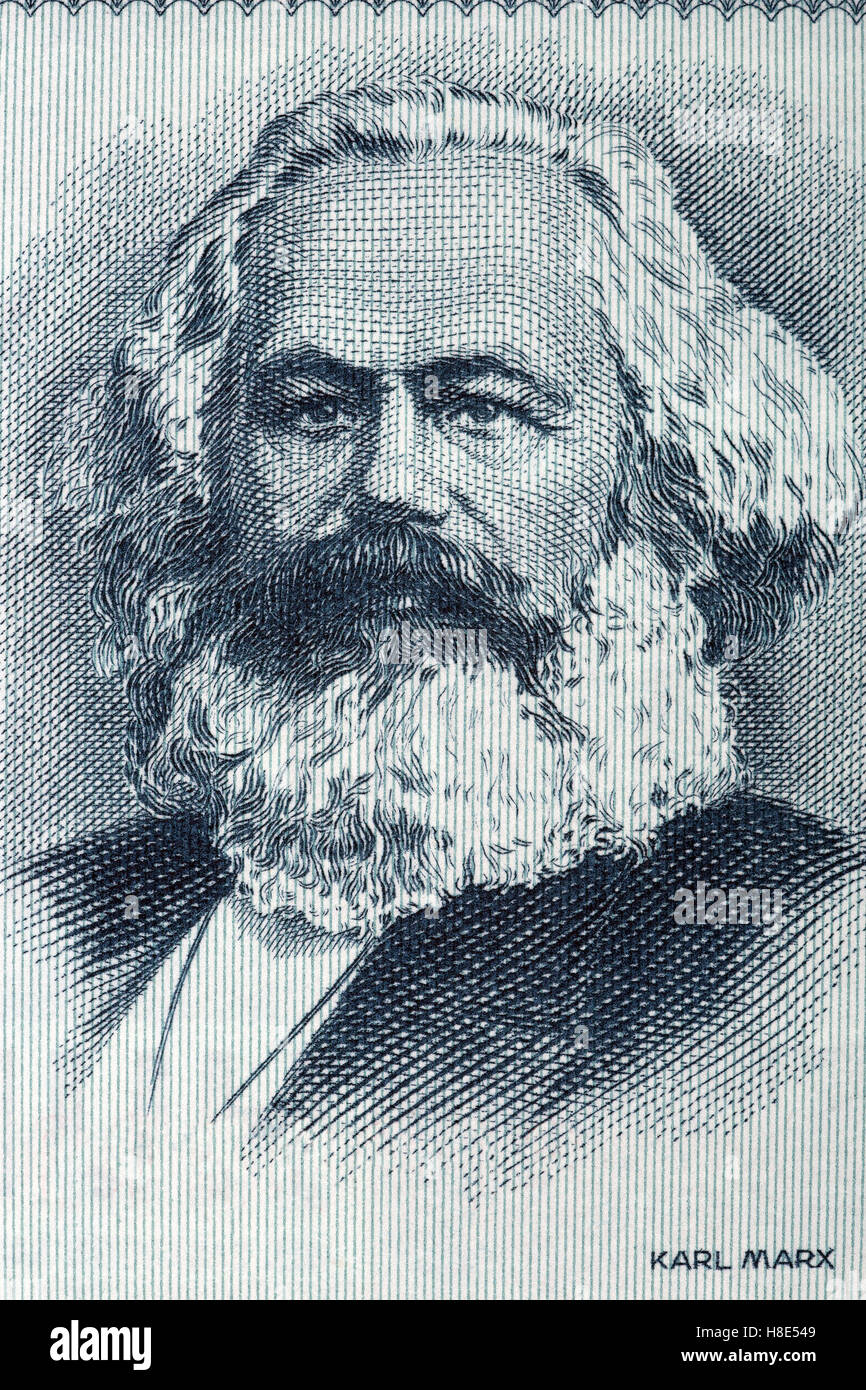 Karl Marx portrait from old German money - Stock Image