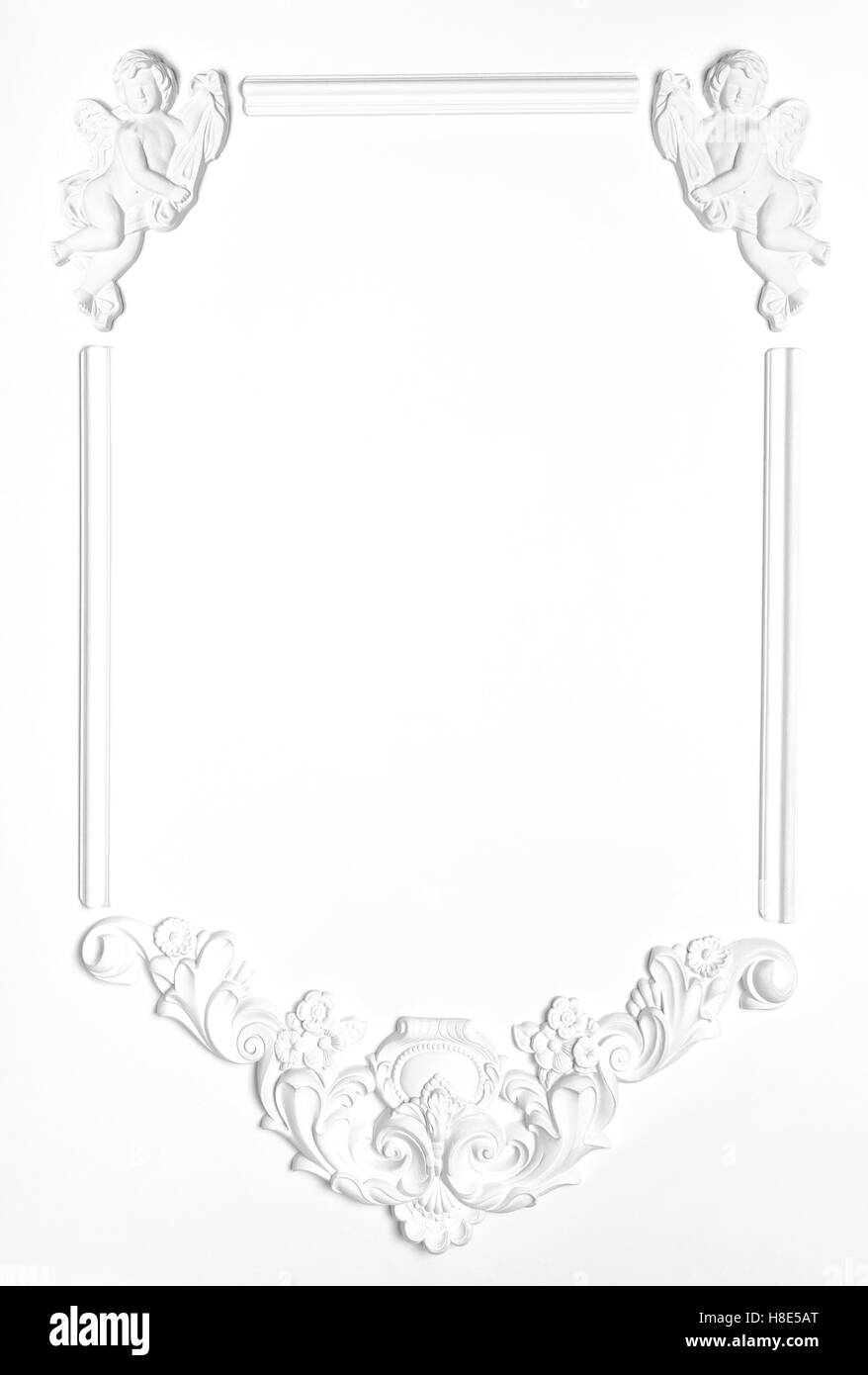 White Blank old frame of gypsum in the Renaissance style. Molding ...