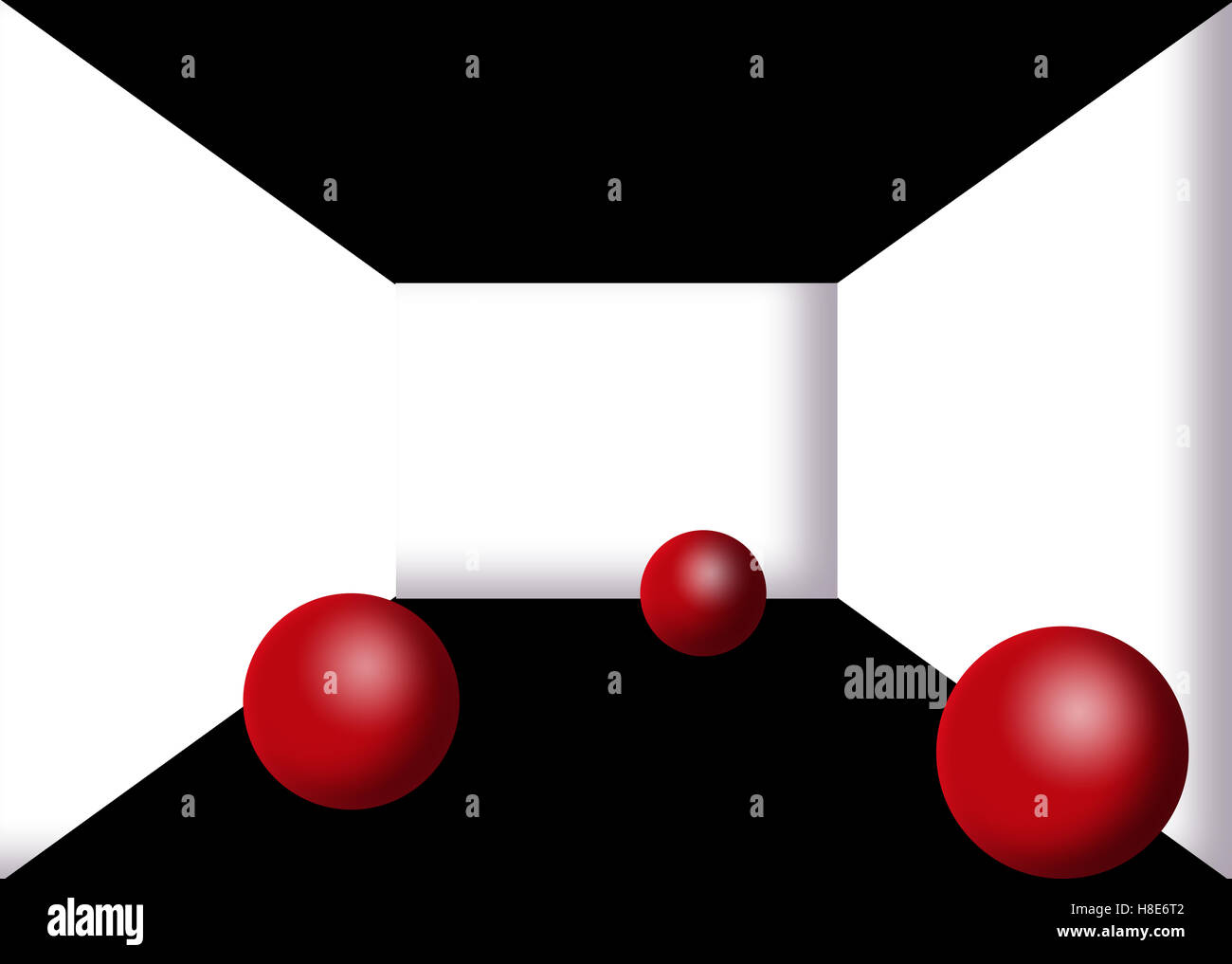 3D Illustration of three red spheres - Stock Image