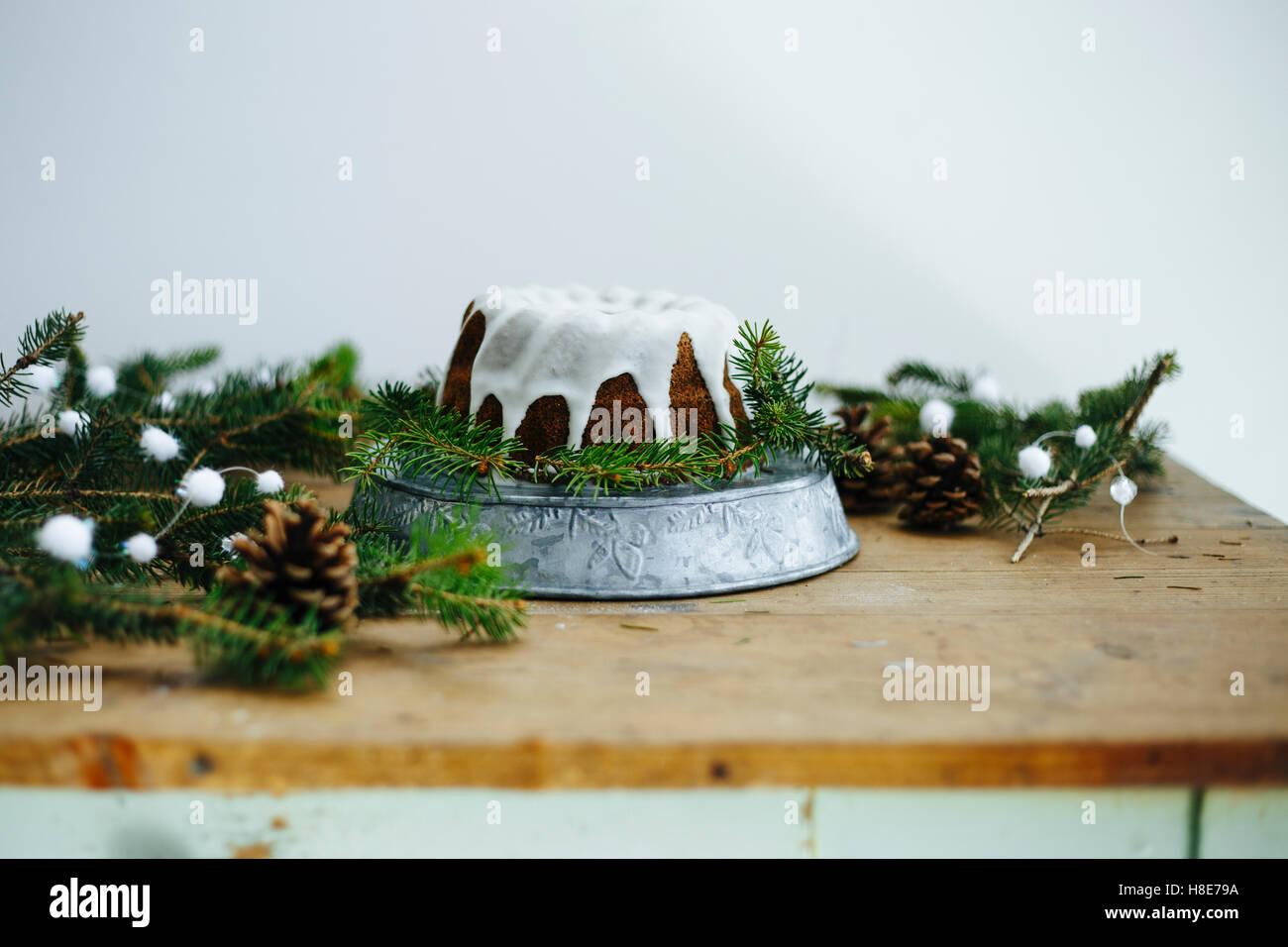 Wintery cake close up horizontal - Stock Image