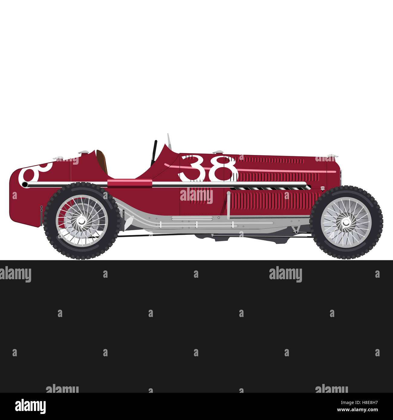 Red old racing car Stock Vector Art & Illustration, Vector Image ...