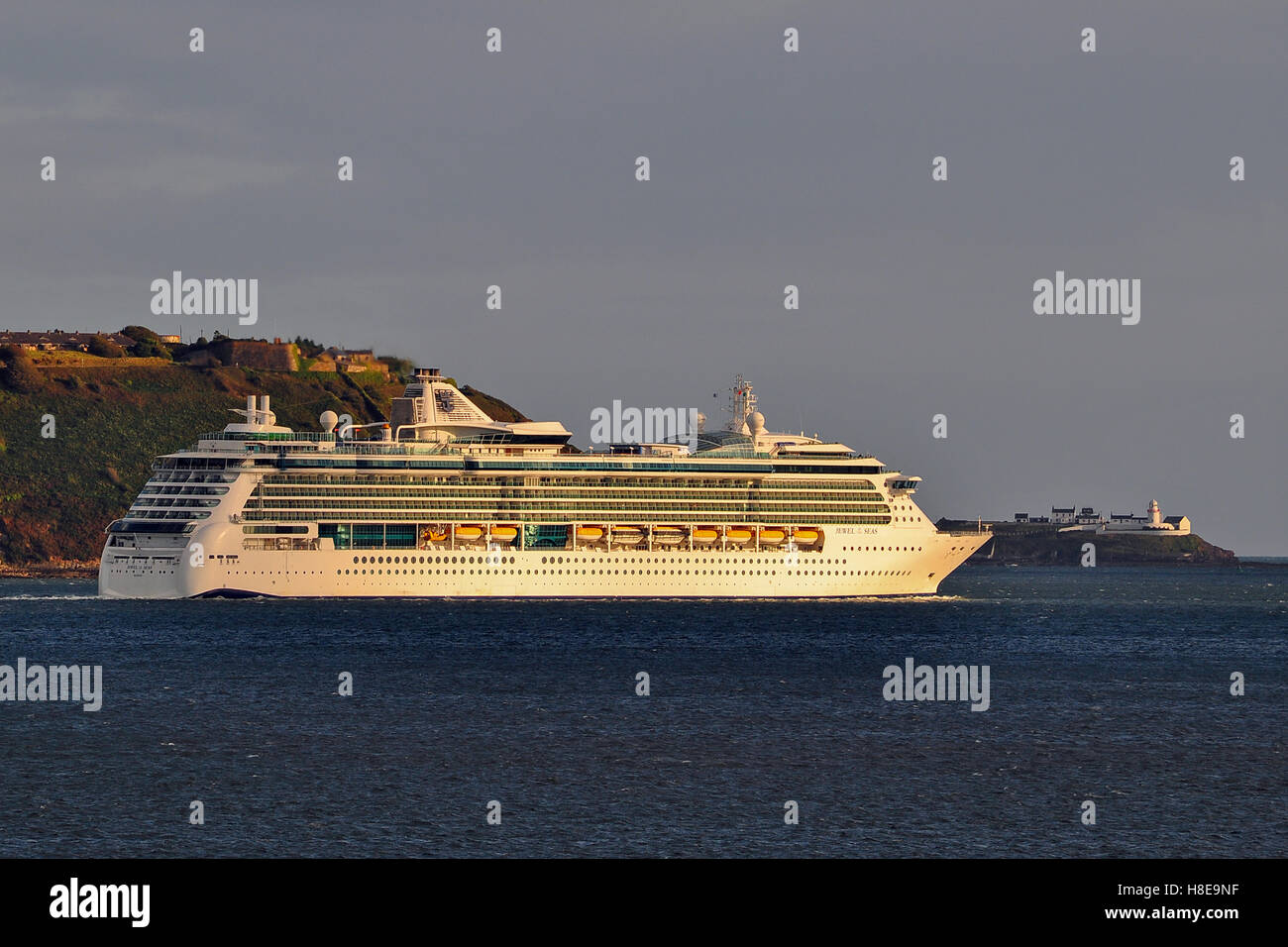 Luxury cruise liner 'Jewel of the Seas' sails from Cobh Cruise Terminal, Cobh, County Cork, Ireland. - Stock Image