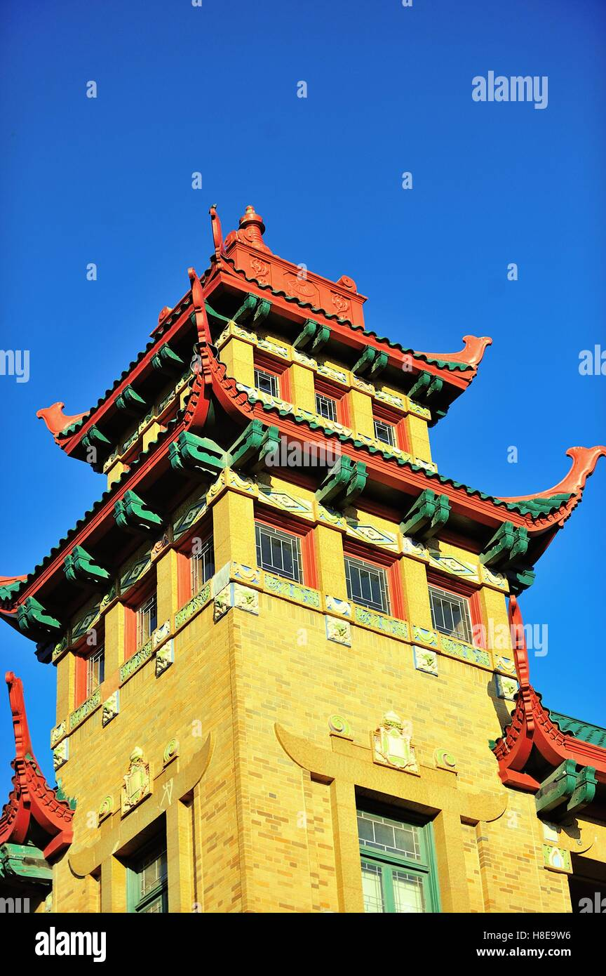 One of the pagoda-styled towers on the Pui Tak Community Center in Chicago's Chinatown neighborhood. Chicago, - Stock Image