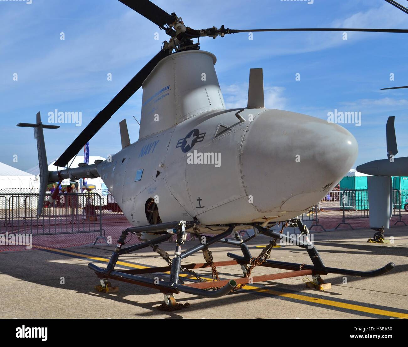 A Northrop Grumman MQ-8 Fire Scout helicopter operated by the U.S. Navy. This is an unmanned surveillance drone. - Stock Image