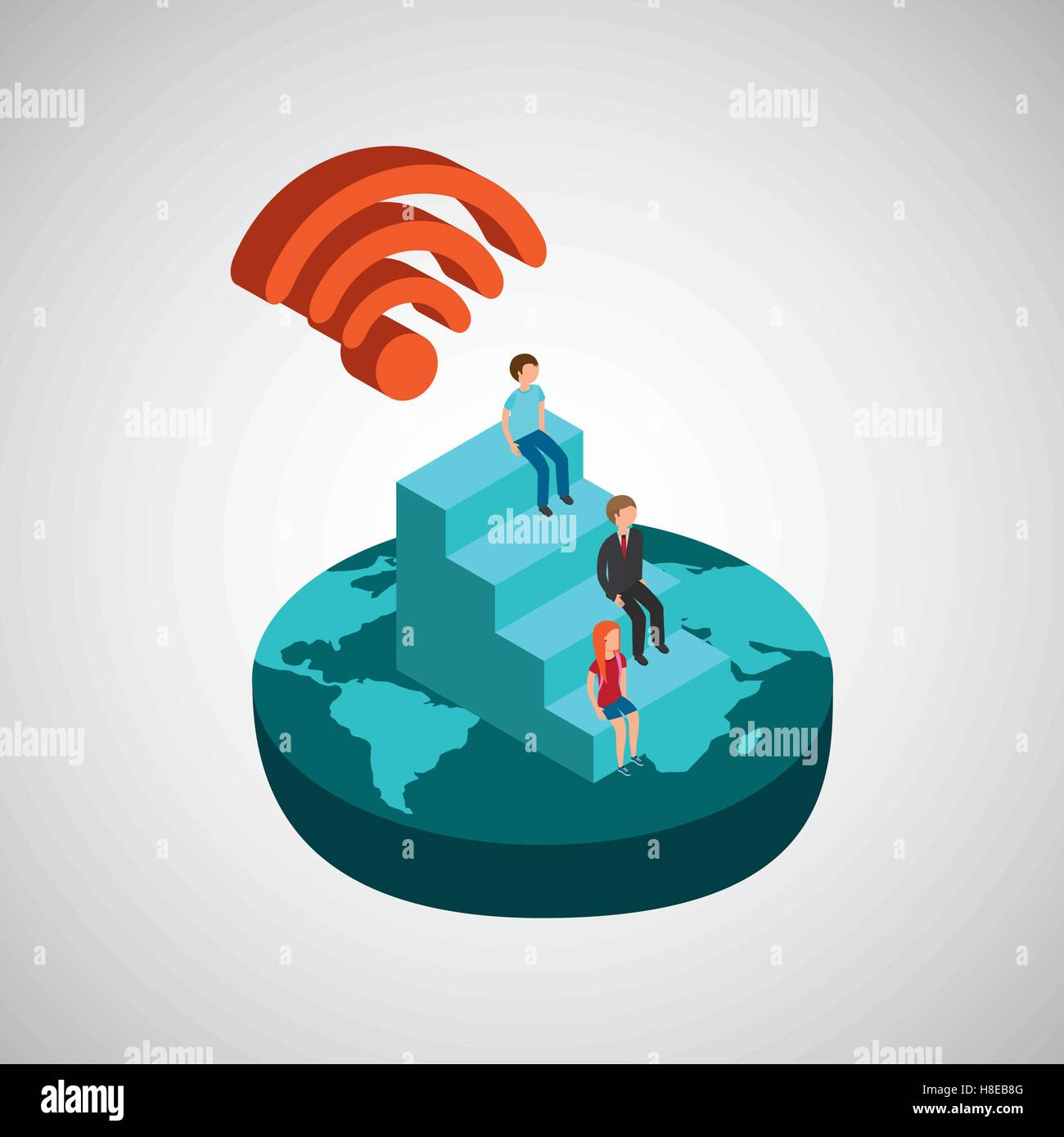 Wireless Router Person Stock Photos Vector Fpv Wiring Diagram Global Connection Wifi Digital Family Illustration Eps 10 Image