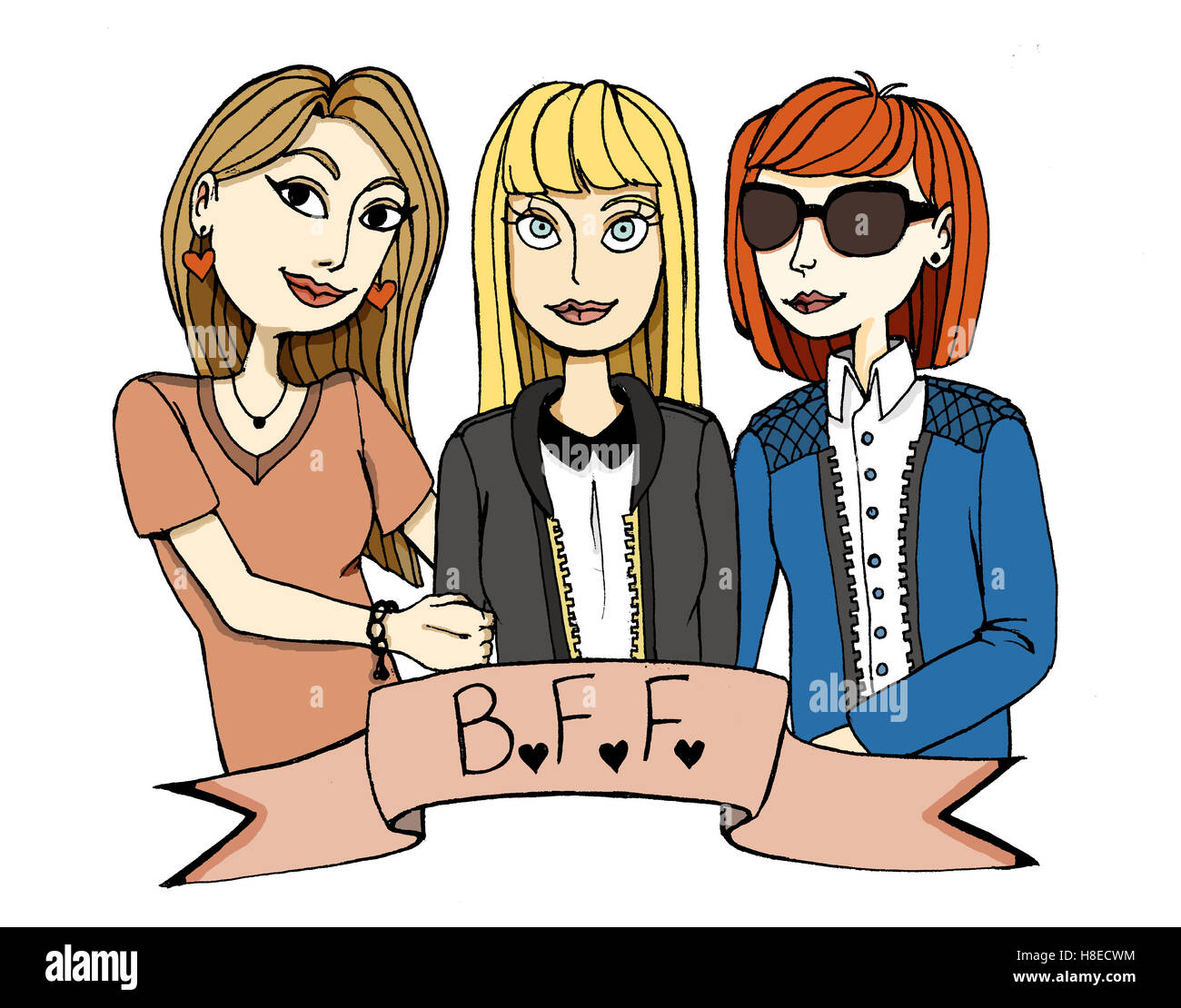 Three Girls Best Friends Coloredbrunette Blonde And Red Haired