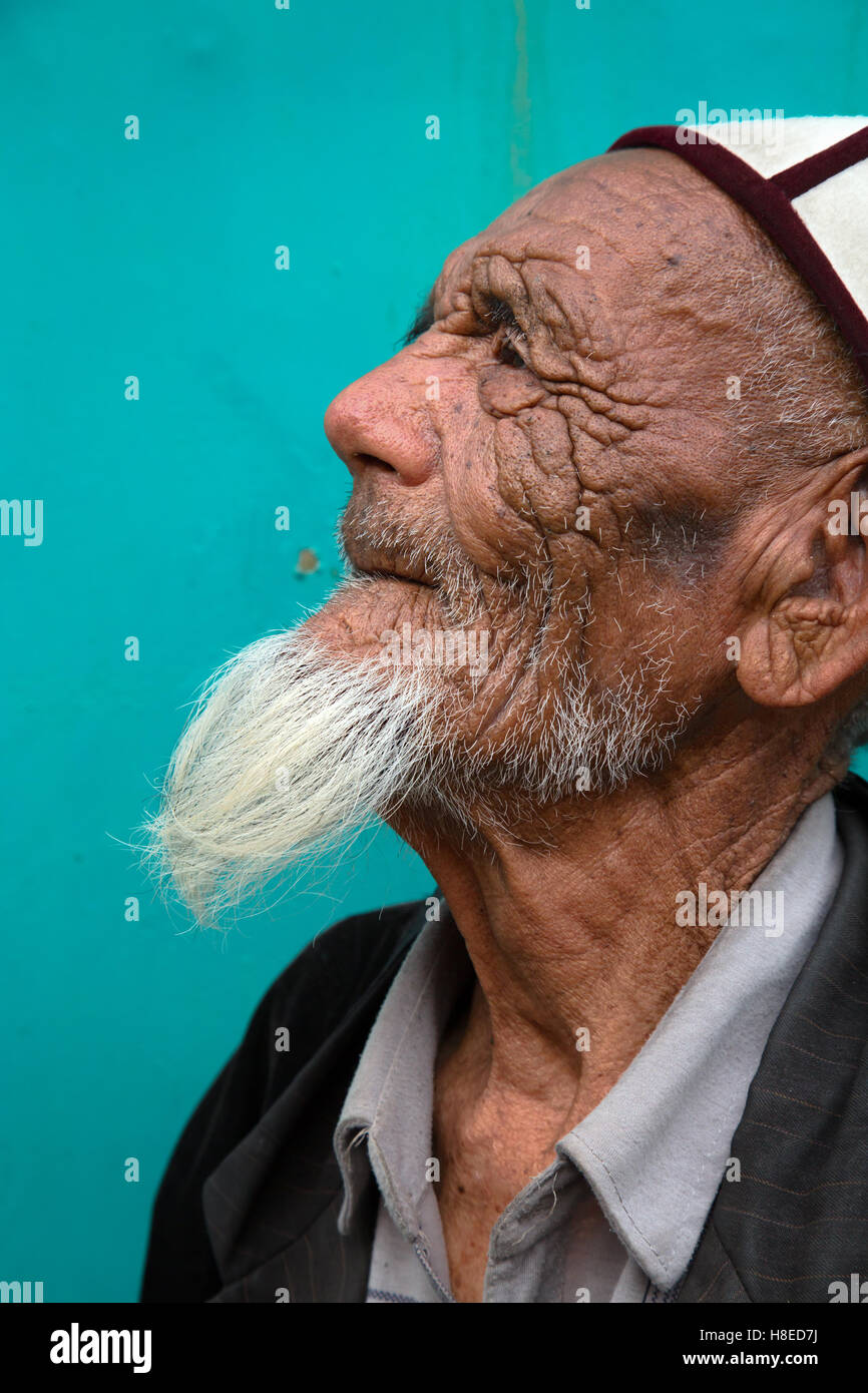 Kyrgyzstan - portrait of people -  Travel people Central Asia - Silk Road - Stock Image