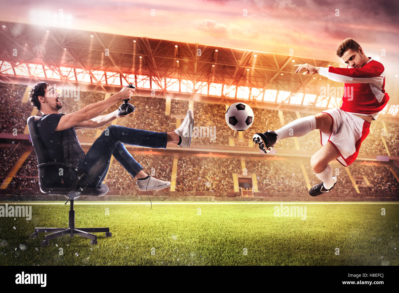 Realistic soccer video game - Stock Image