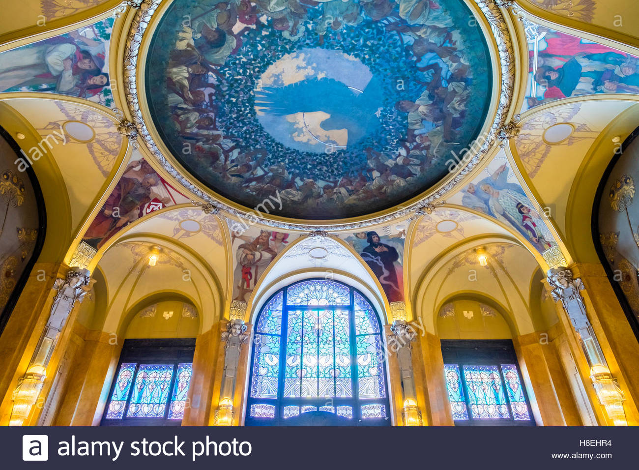 The Mucha Room at Municipal House, designed entirely by Alphonse Mucha, Stare Mesto (Old Town), Prague, Czech Republic Stock Photo