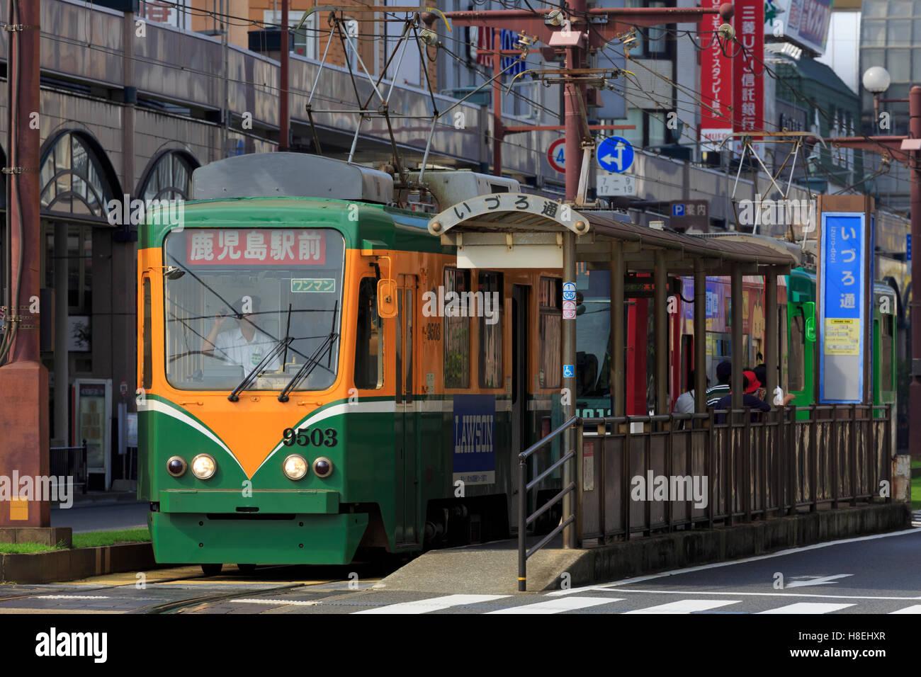 Tram, Izuro Street, Kagoshima City, Kyushu Island, Japan, Asia - Stock Image