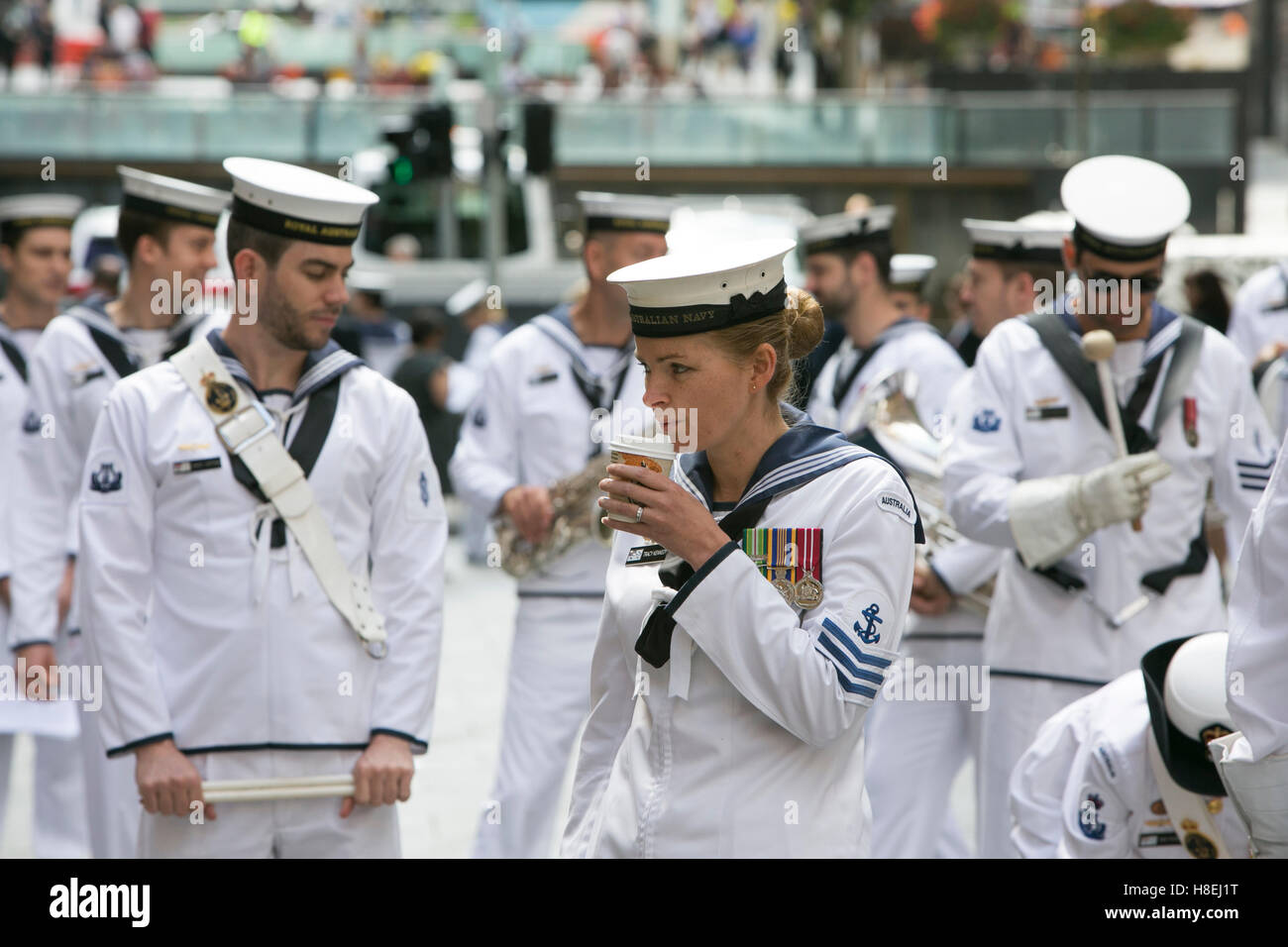 Royal Australian Navy band at the Remembrance Armistice Day service in Martin Place Sydney on 11th November 2016 - Stock Image