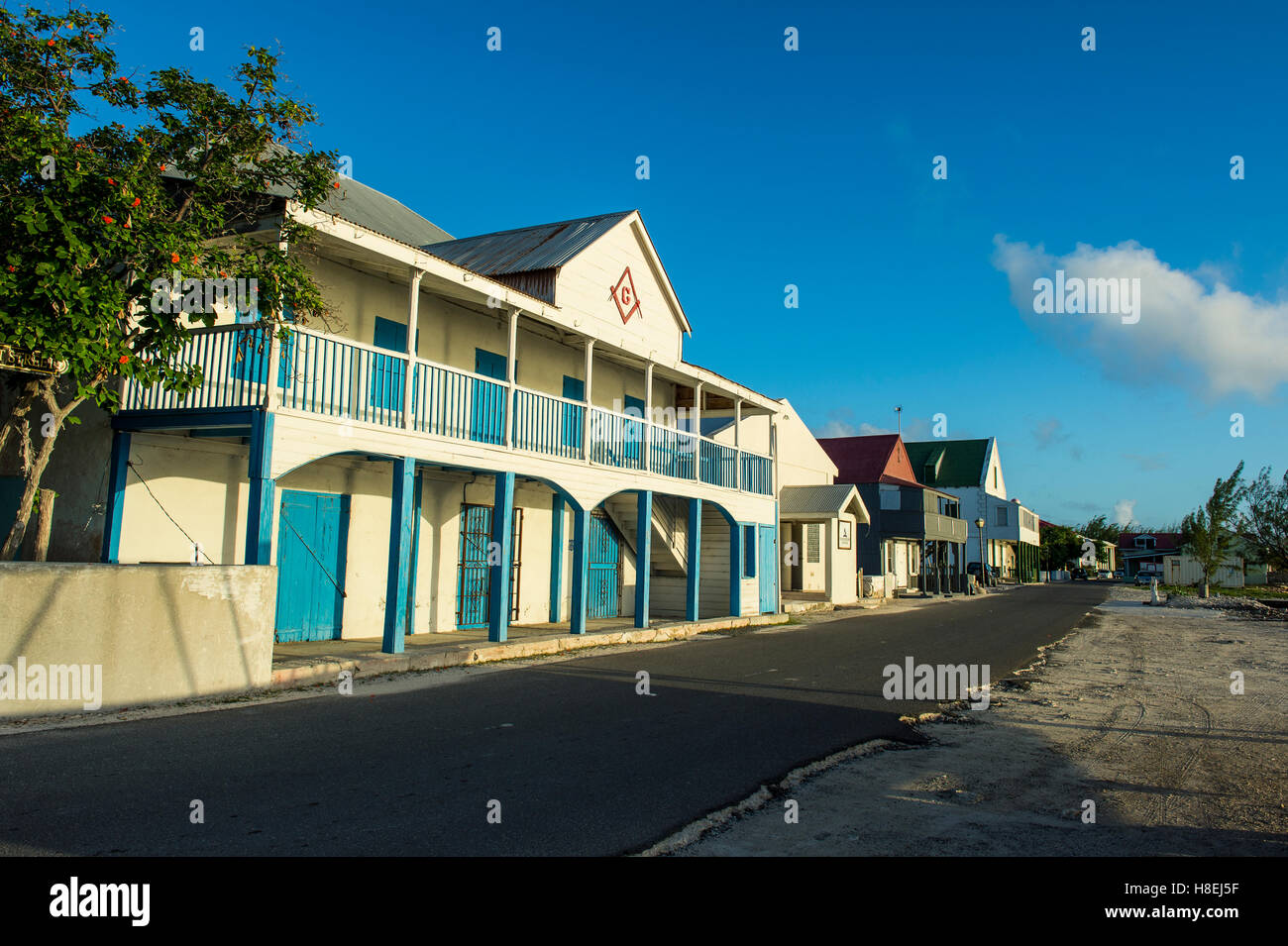 Colonial houses, Cockburn Town, Grand Turk, Turks and Caicos, Caribbean, Central America - Stock Image