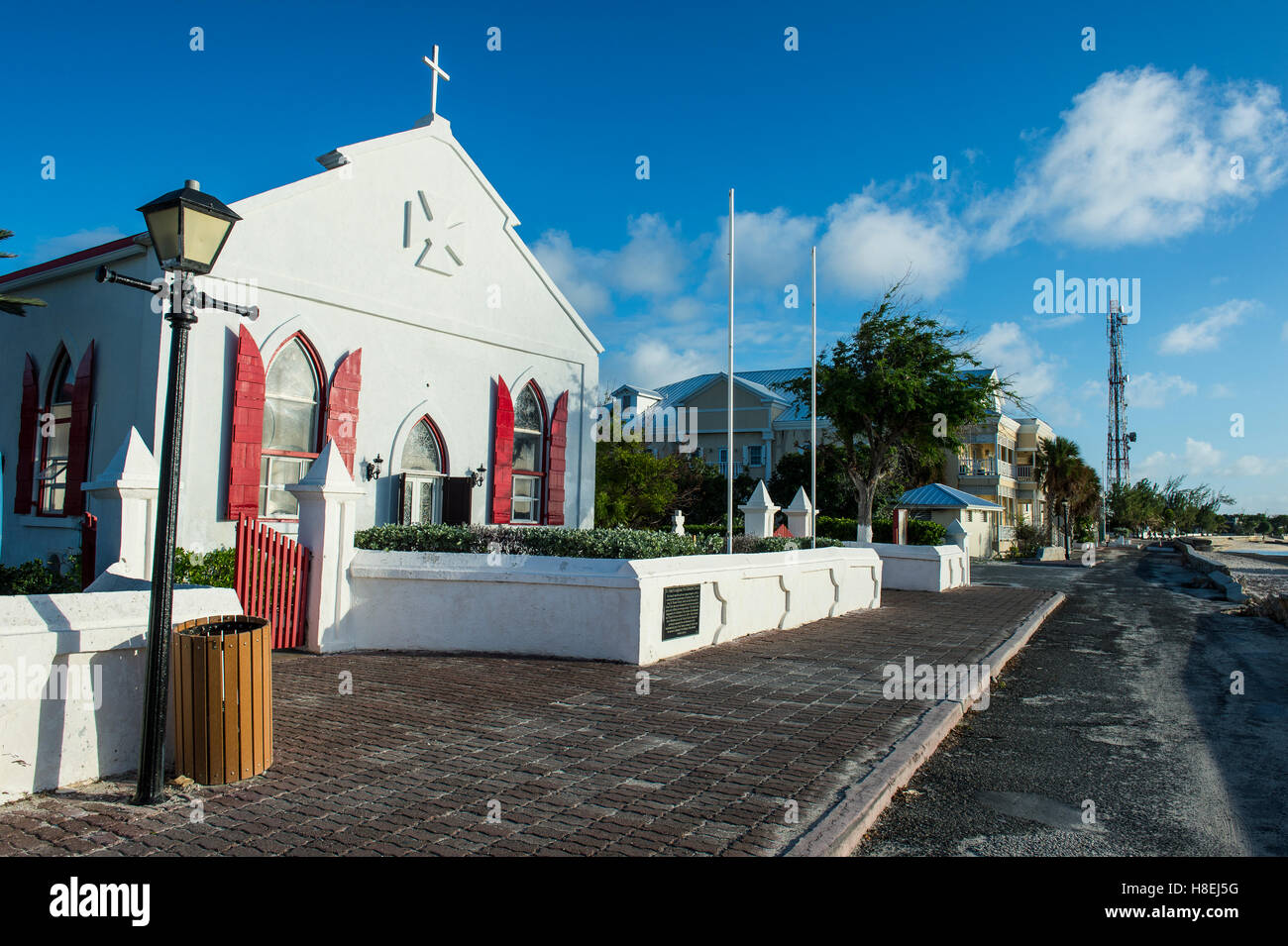 Beautiful church in Cockburn Town, Grand Turk, Turks and Caicos, Caribbean, Central America - Stock Image