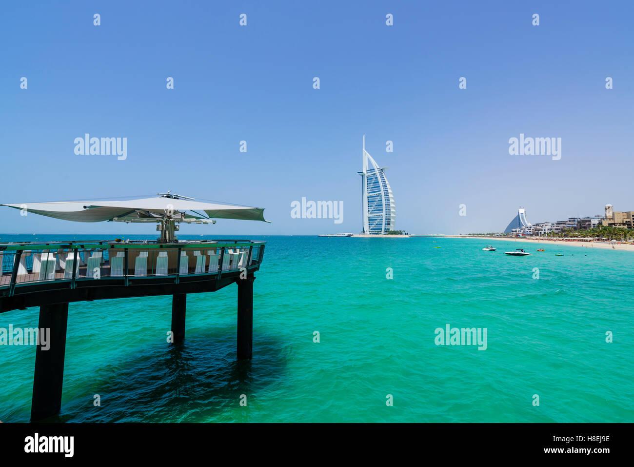Burj Al Arab, Jumeirah Beach, Dubai, United Arab Emirates, Middle East - Stock Image
