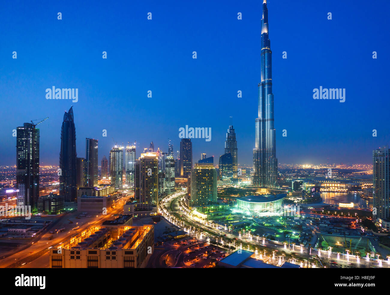 Burj Khalifa and Downtown Dubai at night, Dubai, United Arab Emirates, Middle East - Stock Image