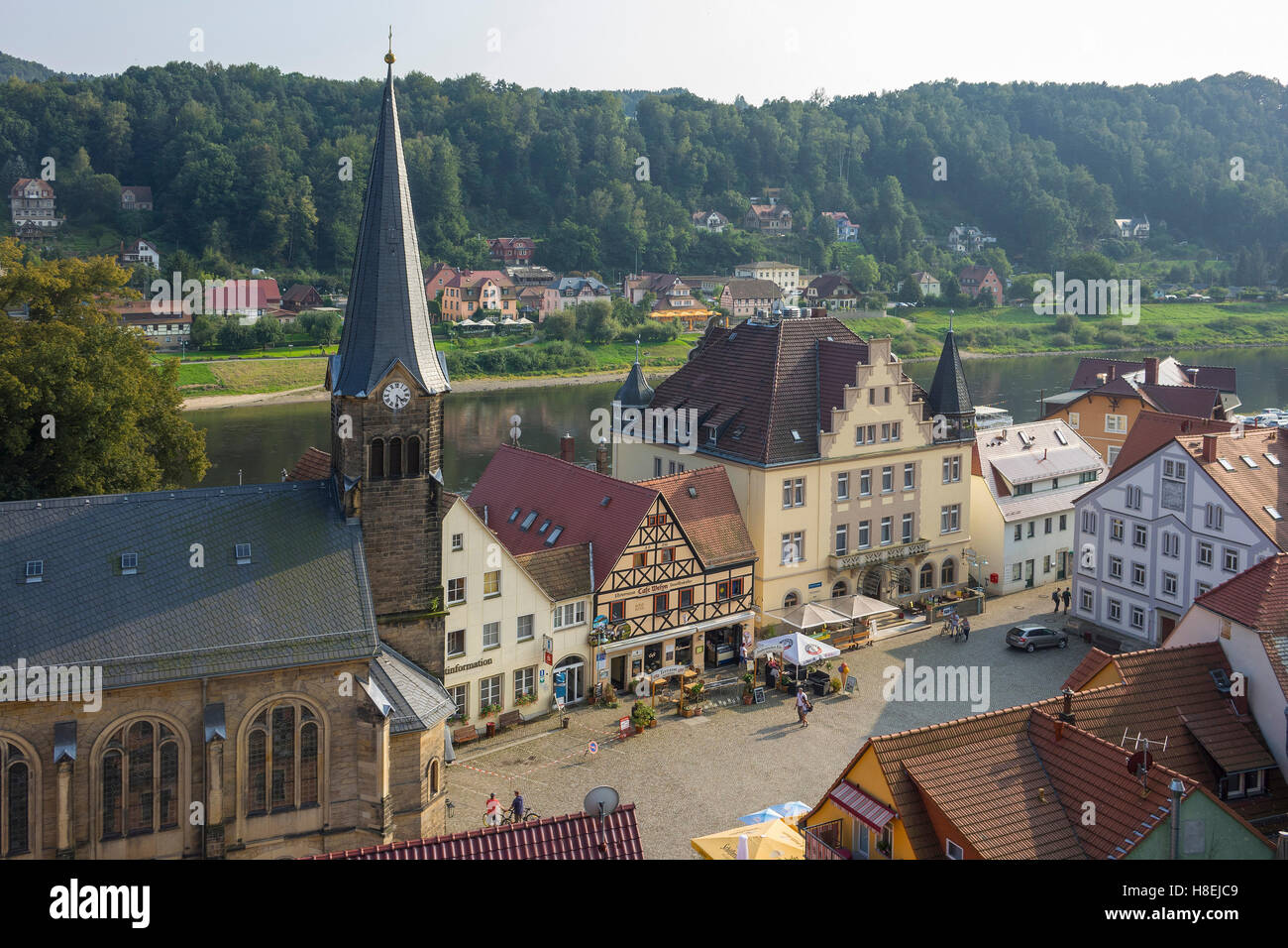 Stadt Wehlen and River Elbe, Saxony, Germany, Europe - Stock Image