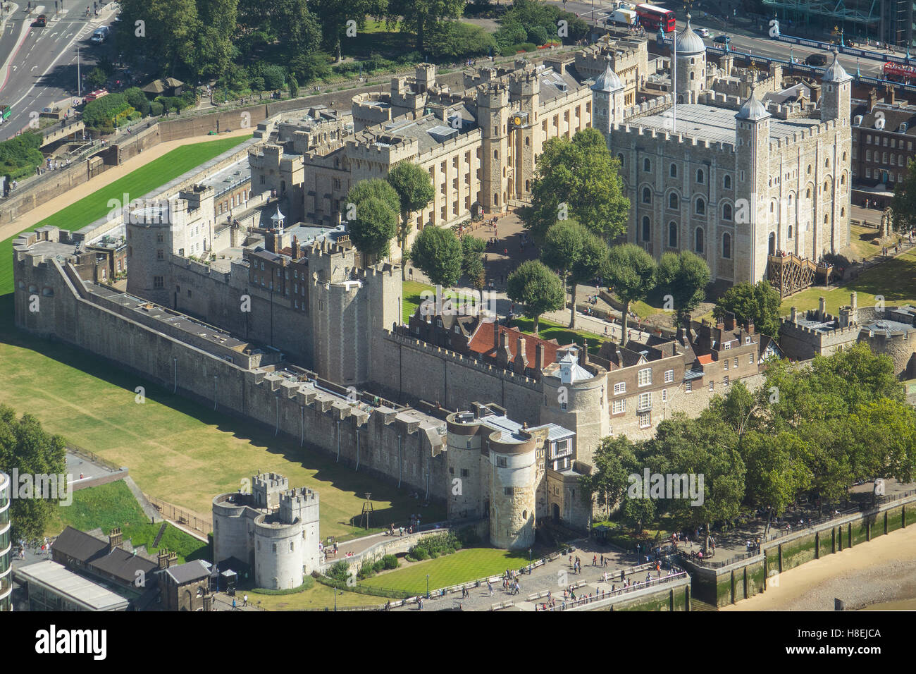 Aerial view of the Tower of London, UNESCO World Heritage Site, London, England, United Kingdom, Europe - Stock Image