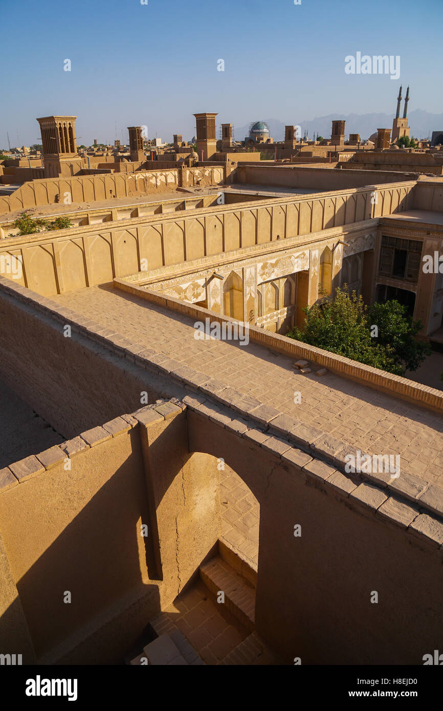 Cityscape at dusk, Yazd, Iran, Middle East - Stock Image