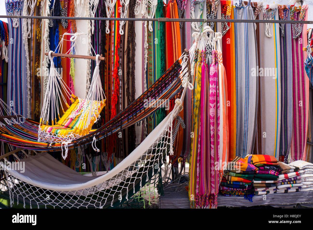 Hammocks for sale, Otovalo craft market, Otovalo, Ecuador, South America - Stock Image