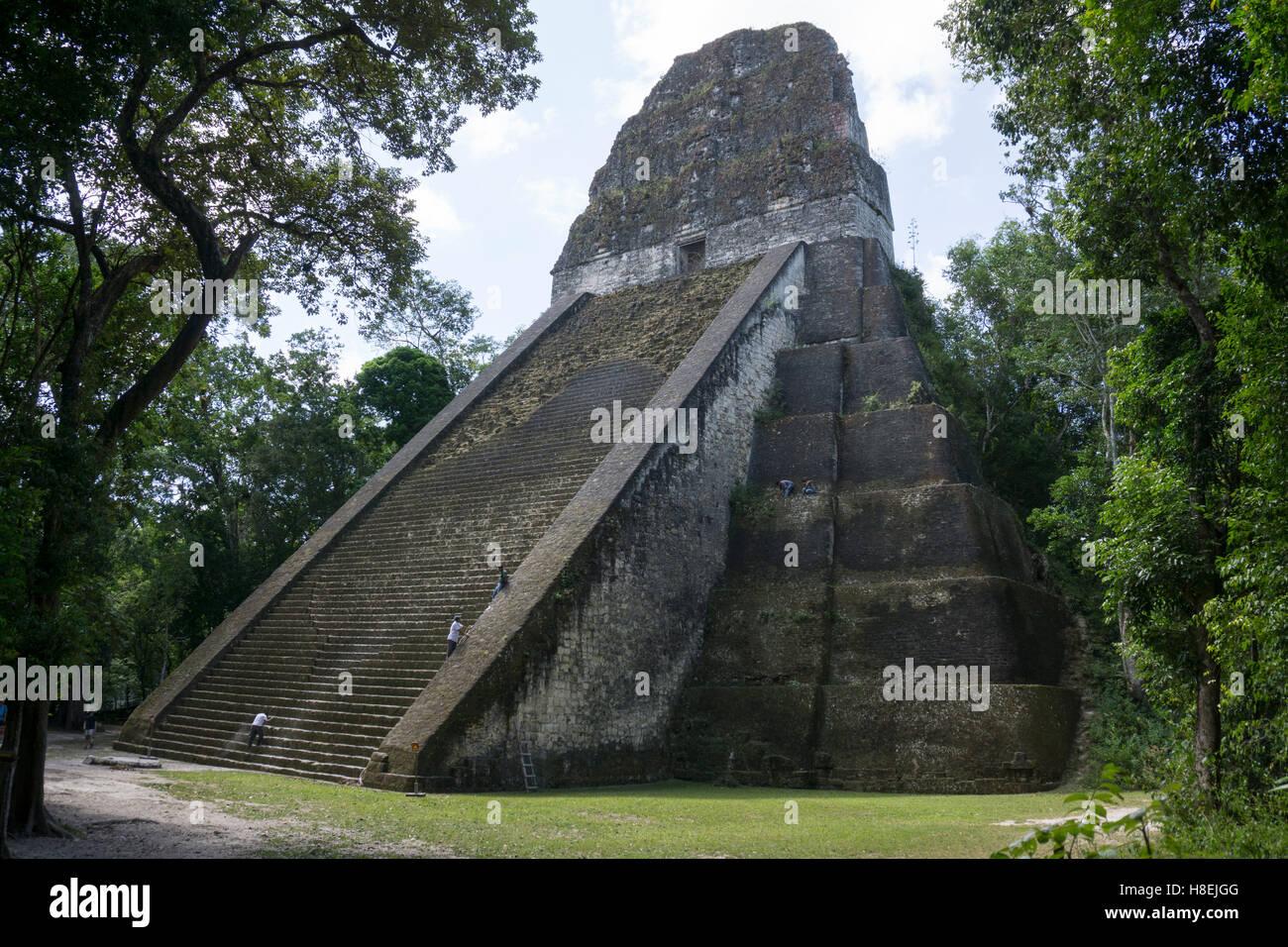 Tikal Temple 5, pre-Colombian Maya civilisation, Tikal, UNESCO World Heritage Site, Guatemala, Central America - Stock Image