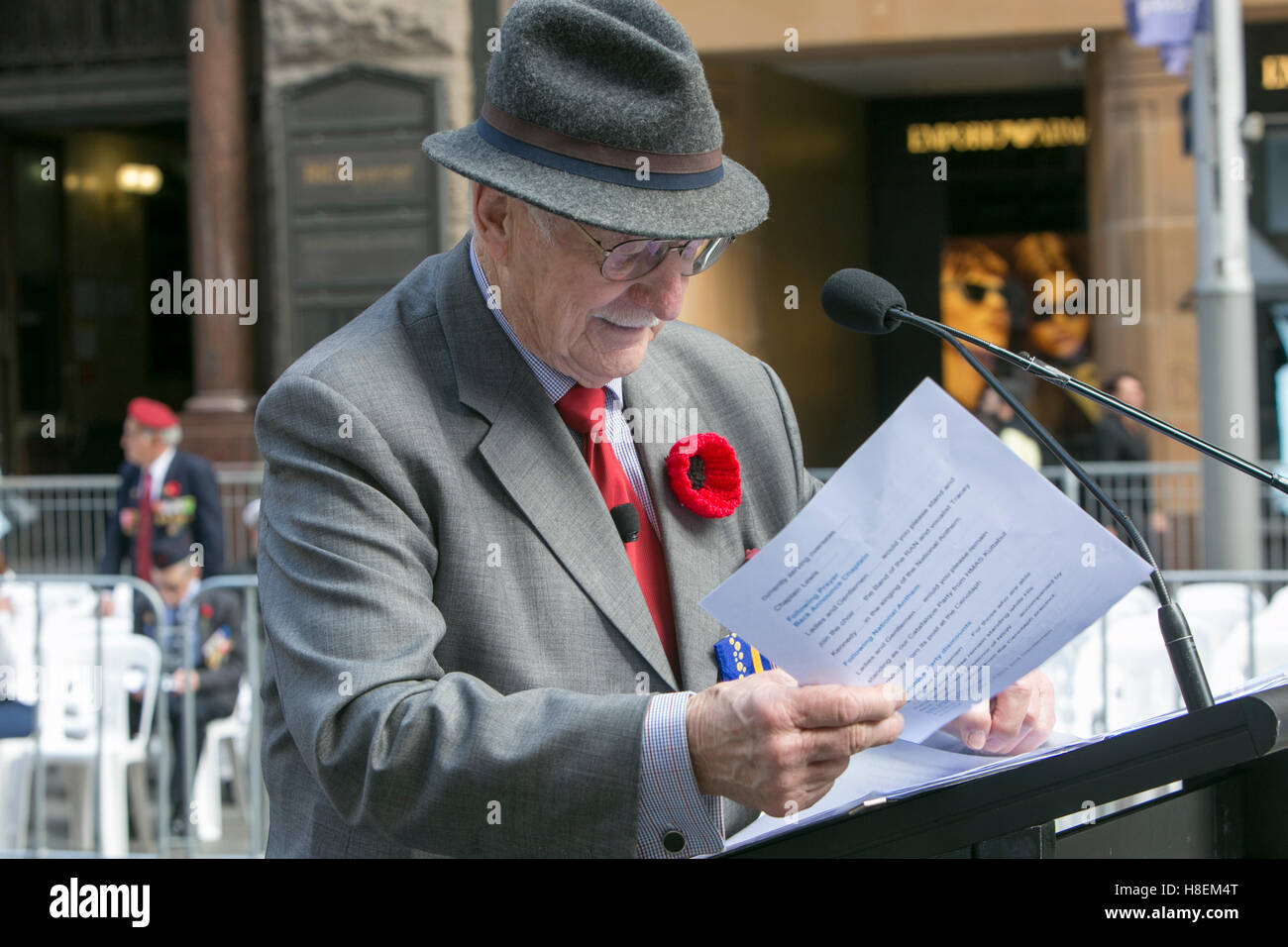 Remembrance Day in Sydney Australia in November 2016, pictured is Master of Ceremonies Lieutenant Colonel John Moore - Stock Image