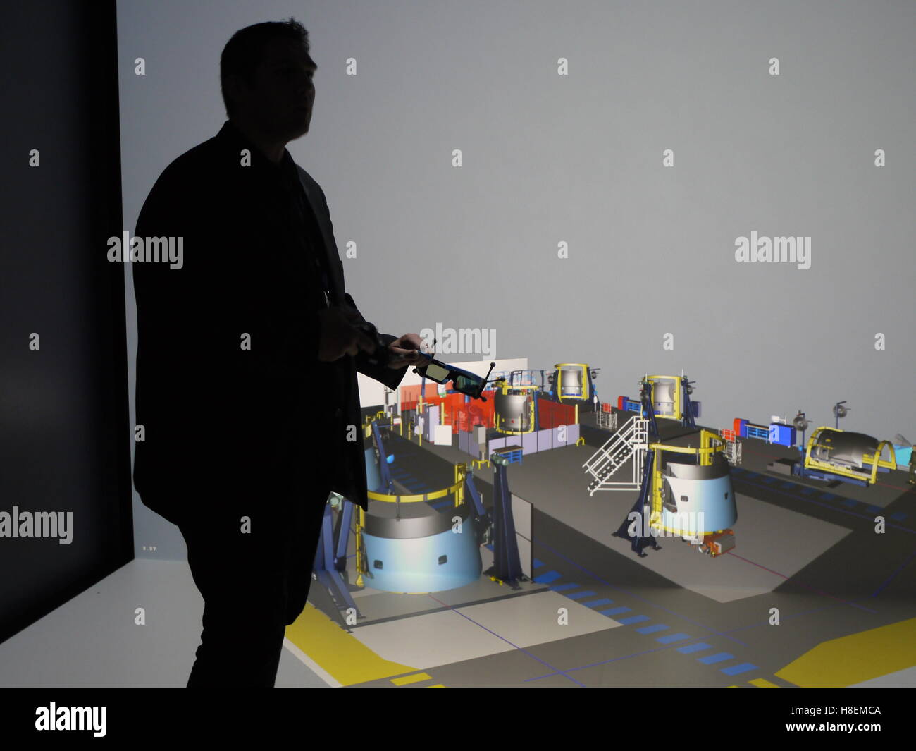 A 3D virtual reality visualization system is used to organize production at the Safran nacelle plant of Le Havre - Stock Image