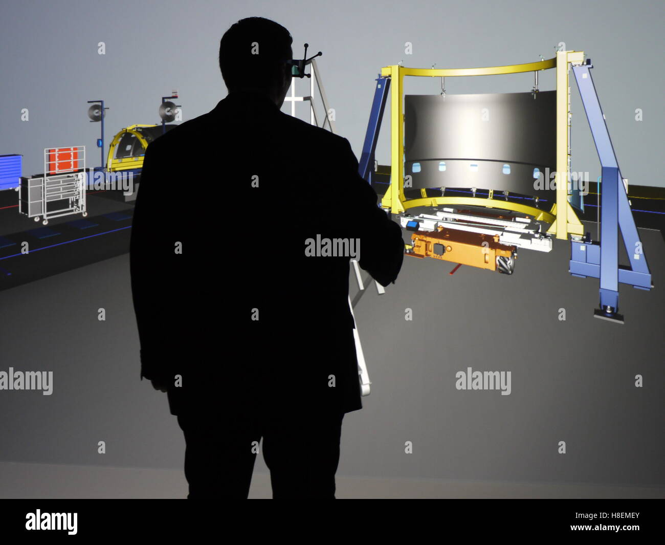 A3D  virtual reality visualization system is used to organize production at the Safran nacelle plant of Le Havre - Stock Image
