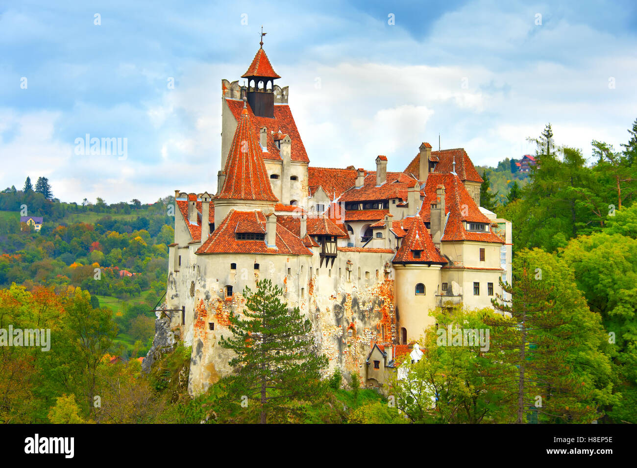 The medieval Castle of Bran, known for the myth of Dracula. - Stock Image
