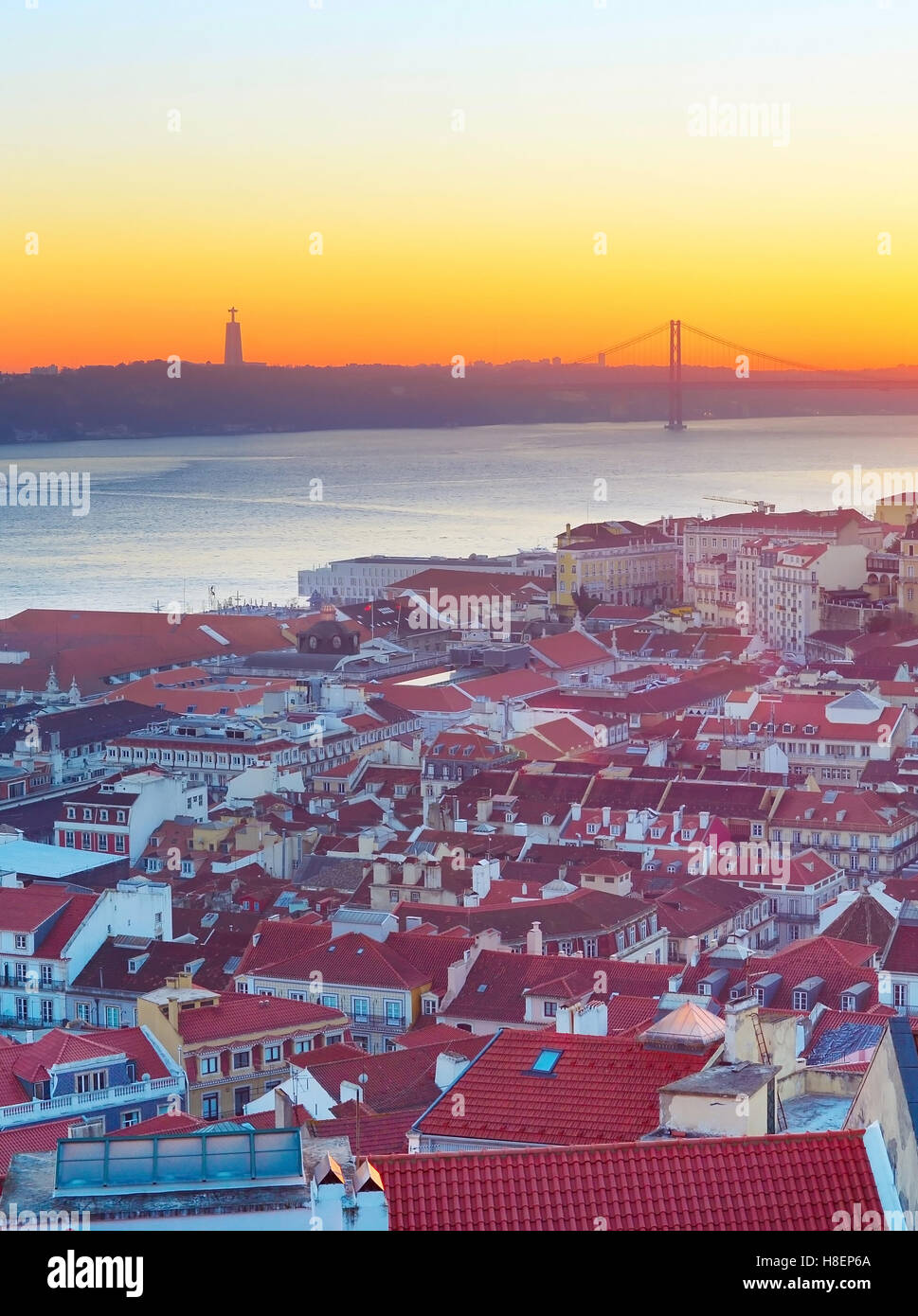 Colorful Lisbon cityscape  at sunset. Portugal - Stock Image