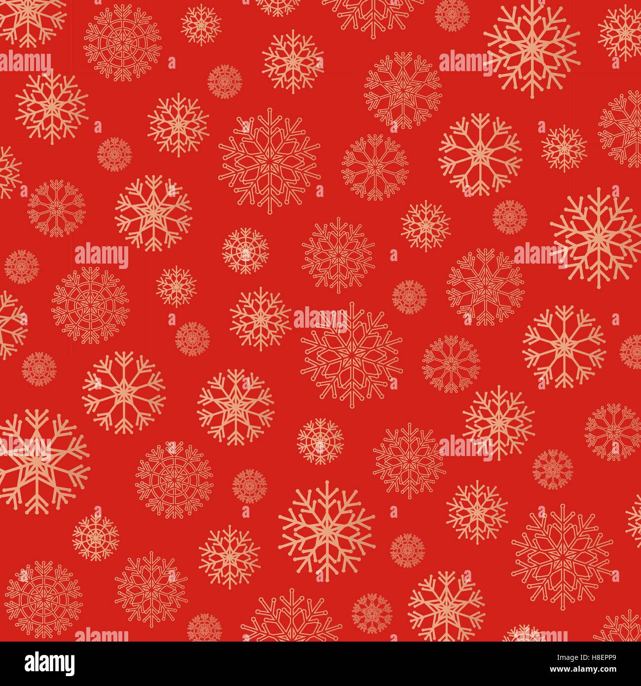 Gorgeous snowflakes background in golden and red. Vector illustration Stock Vector