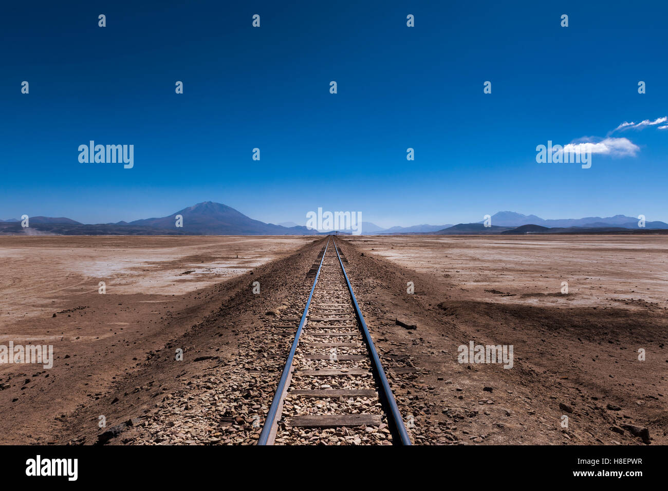 Train tracks in the desert in the Potosi Region in Bolivia, South America; Concept for travel in Bolivia and the - Stock Image