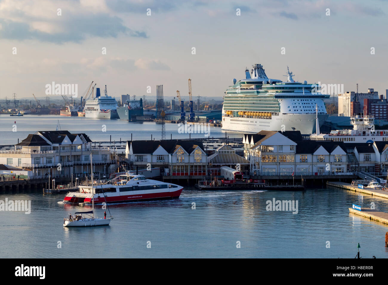 Royal Caribbeans Navigator of the seas and P&O Oriana moored in Southampton Docks. Stock Photo