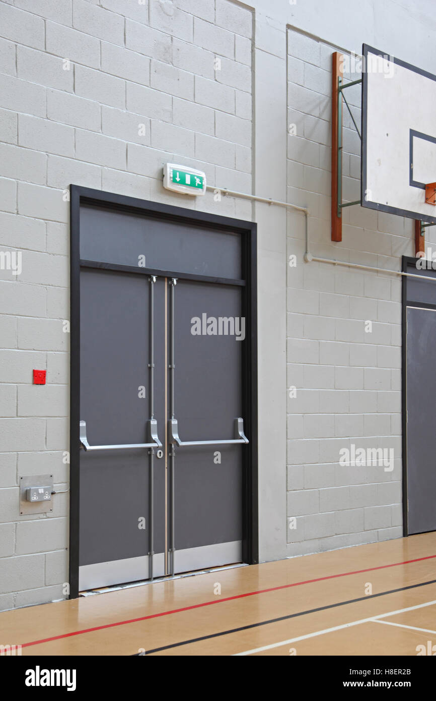 Fire Escape Door : Fire escape door in the sports hall of a modern london