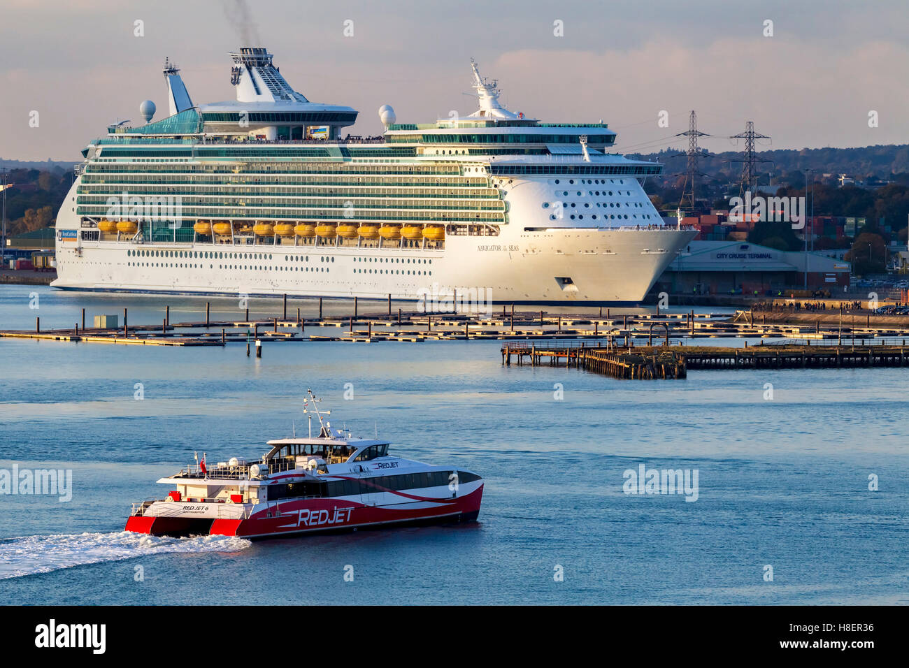 Royal Caribbeans Navigator of the seas moored in Southampton Docks. - Stock Image