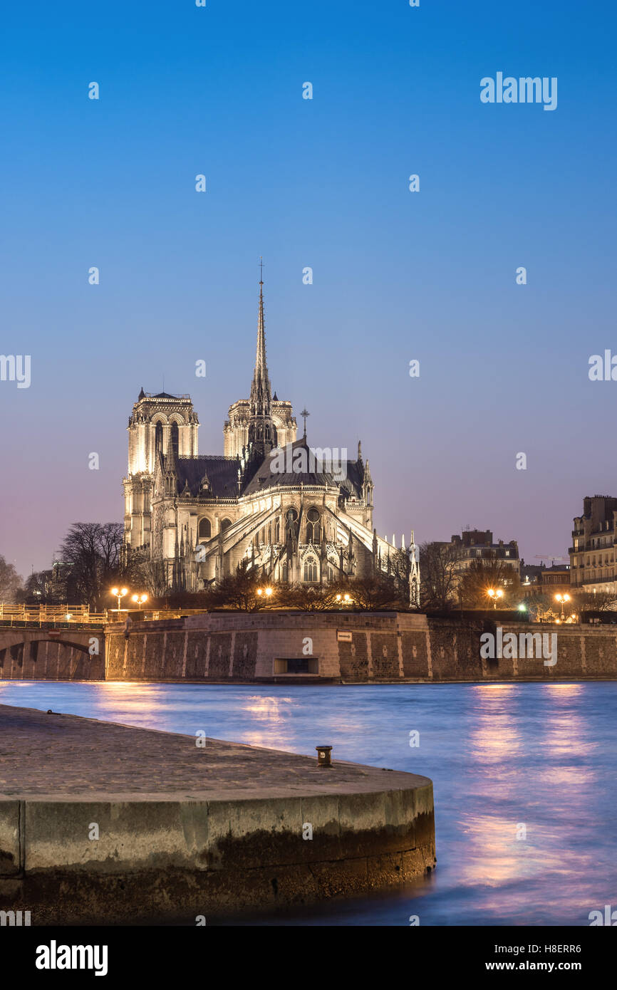 Cathedral Notre Dame de Paris at night - Stock Image