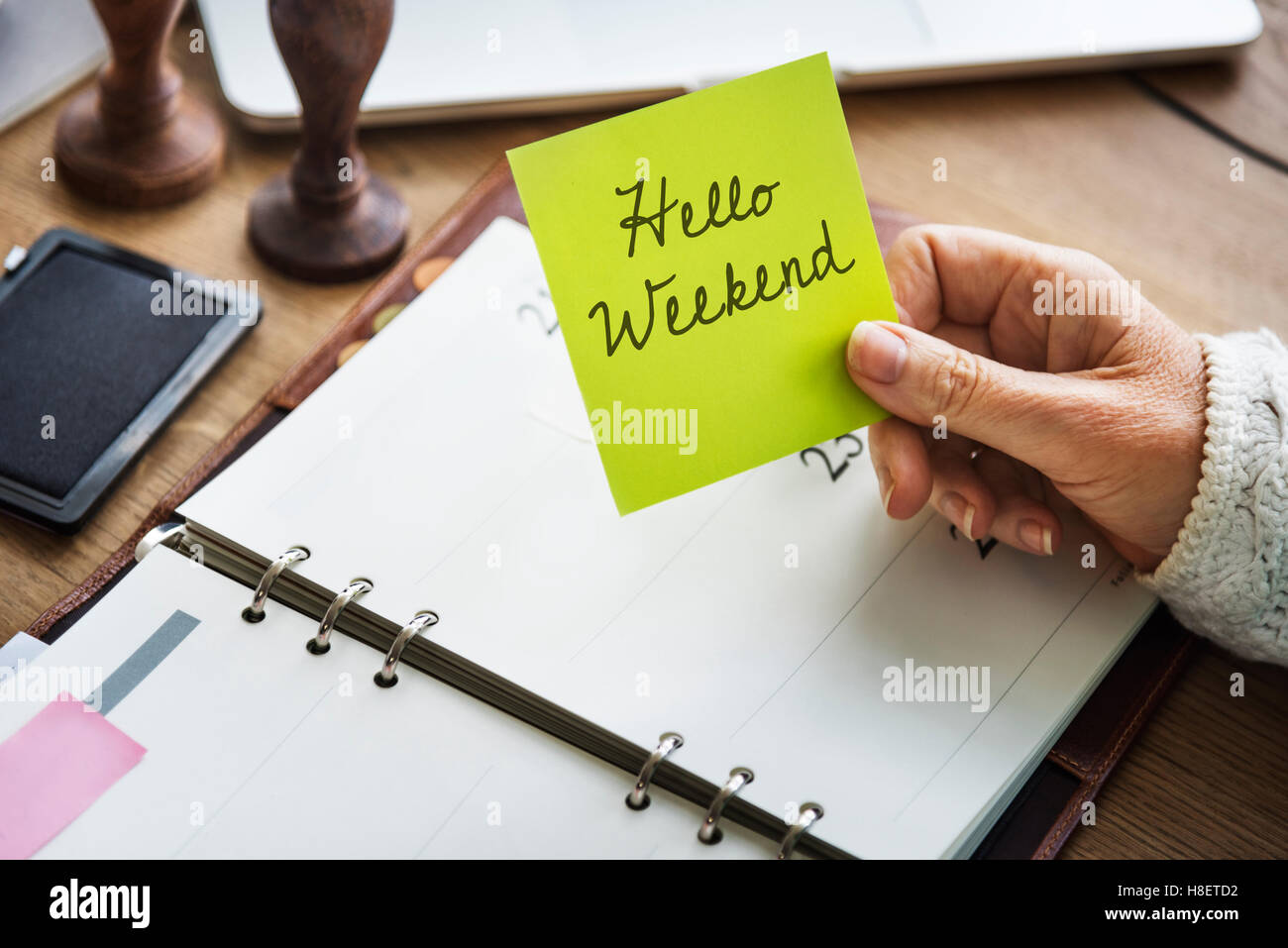 Hello Weekend Message Happiness Relaxtion Concept - Stock Image