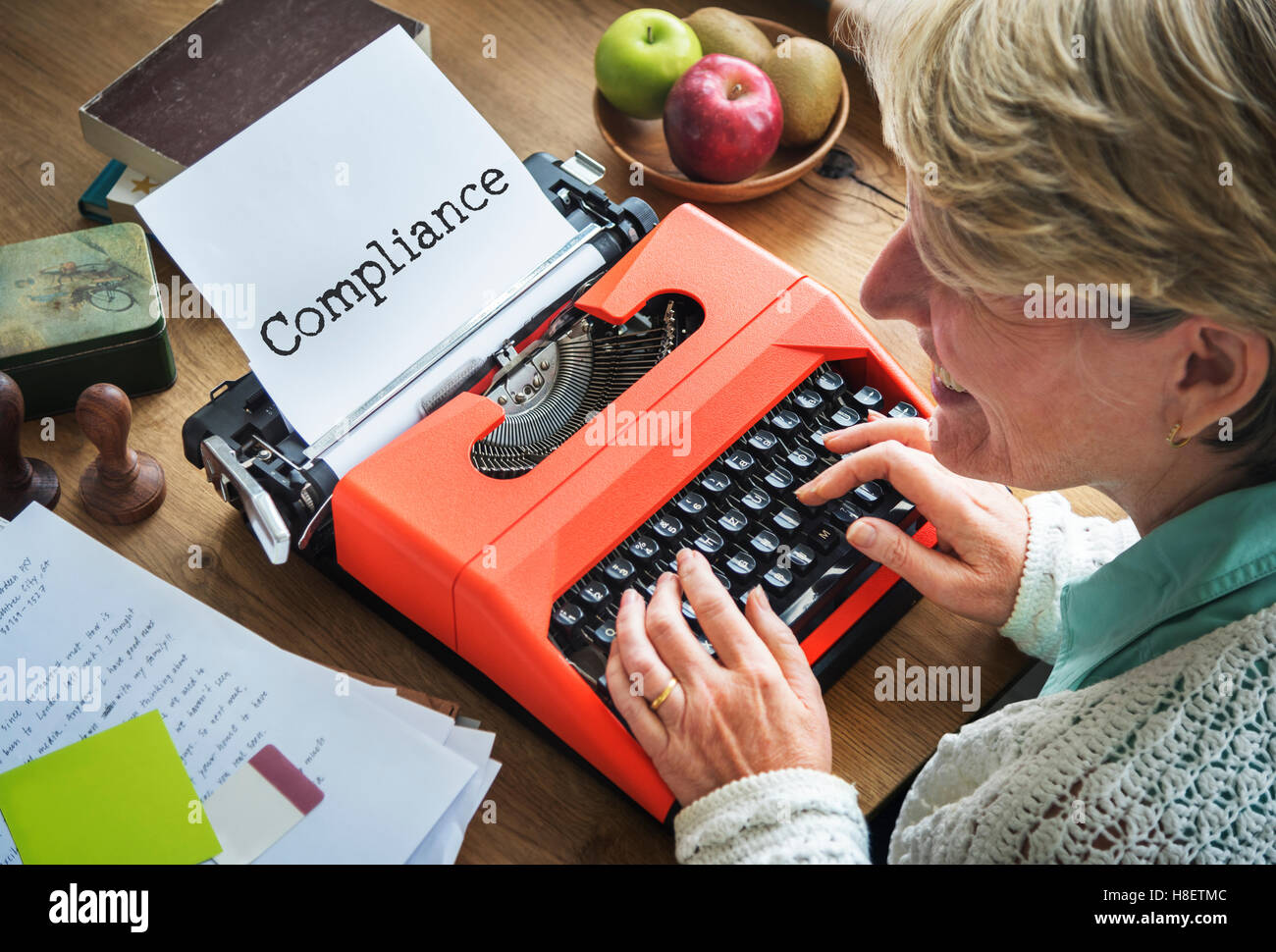 Compliance Conformity Journal Typing COncept - Stock Image