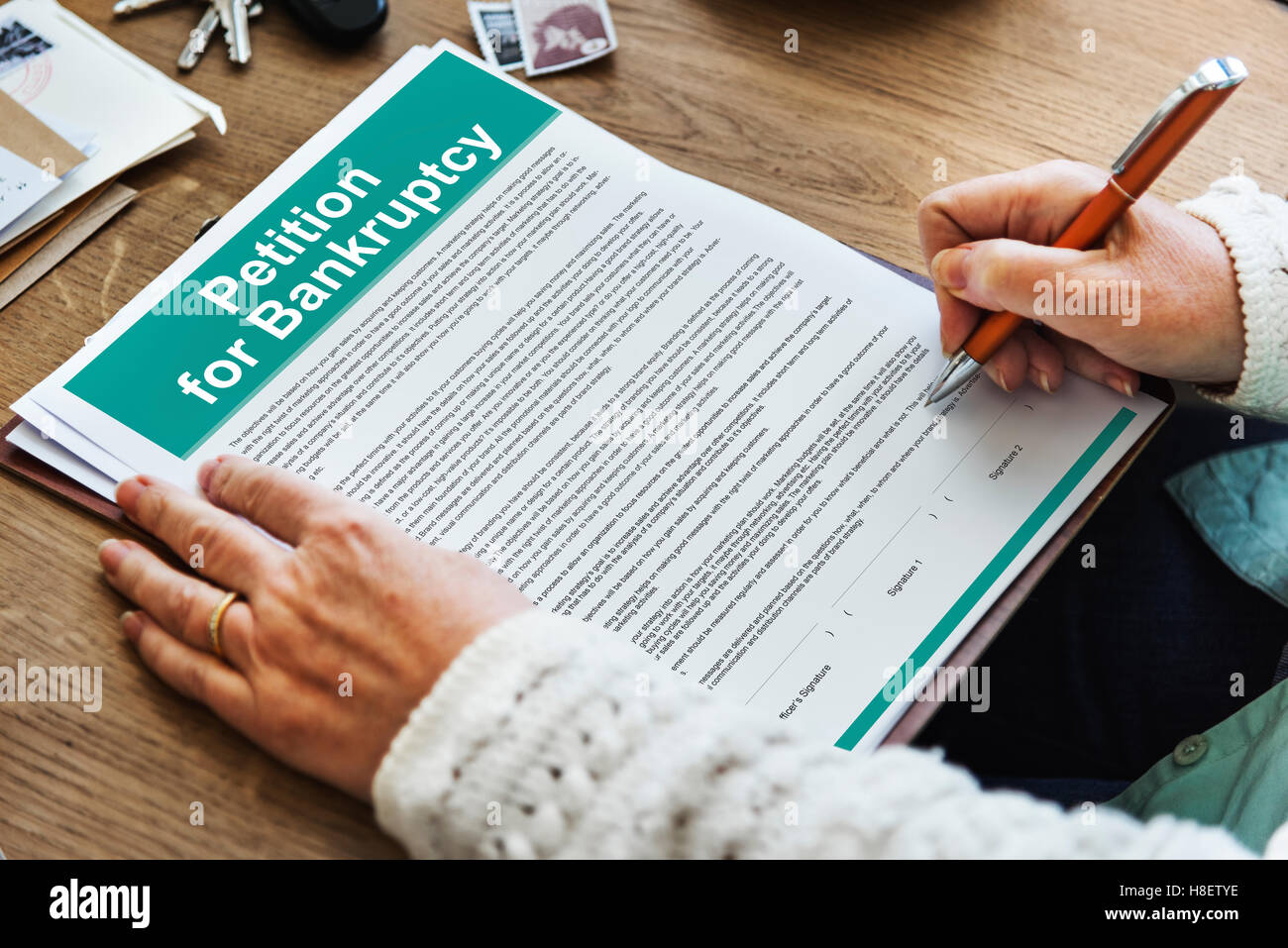 Petition Bankruptcy Debt Loan Overdrawn Trouble Concept - Stock Image