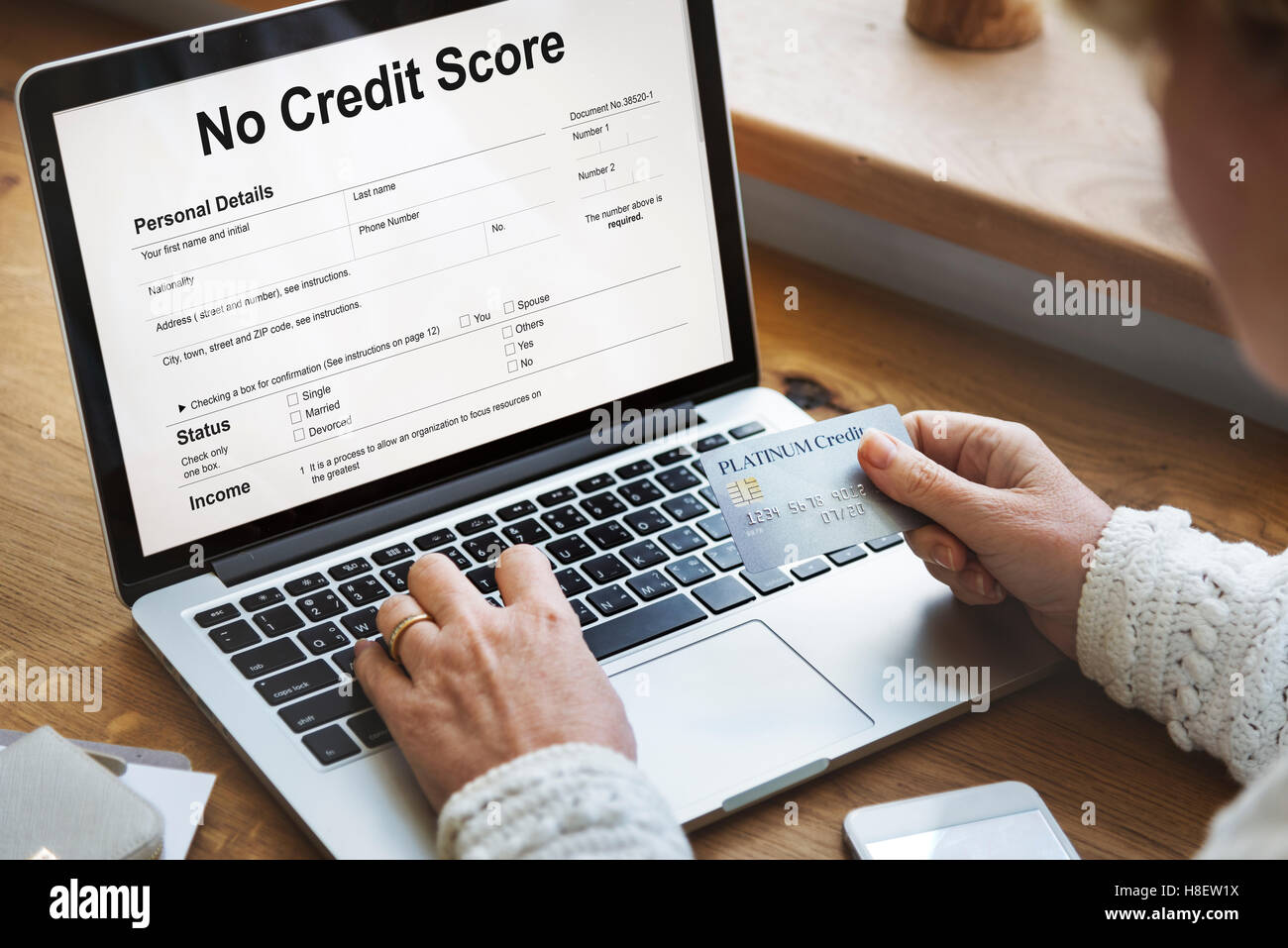 No Credit Score Debt Deny Concept - Stock Image