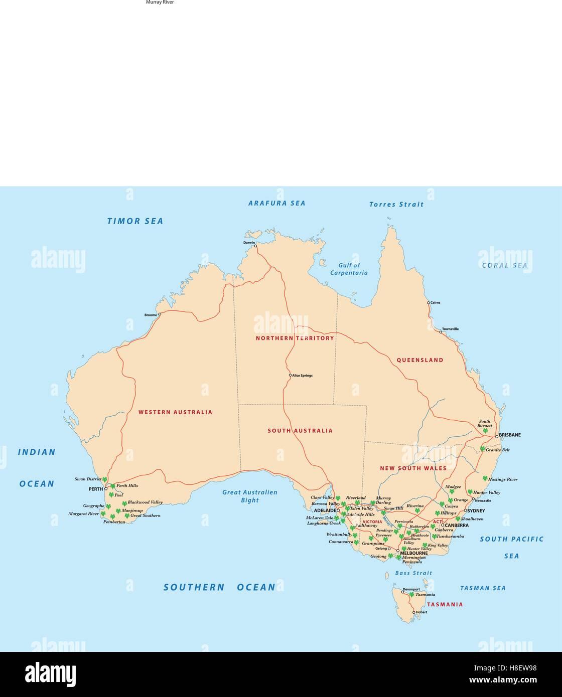 Australia Map Regions.Wine Producing Regions In Australia Map Stock Vector Art