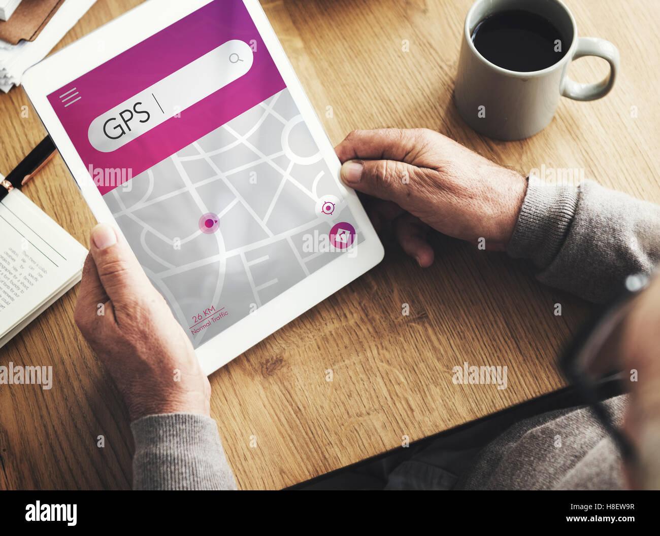 GPS Navigation Map Destination Concept - Stock Image