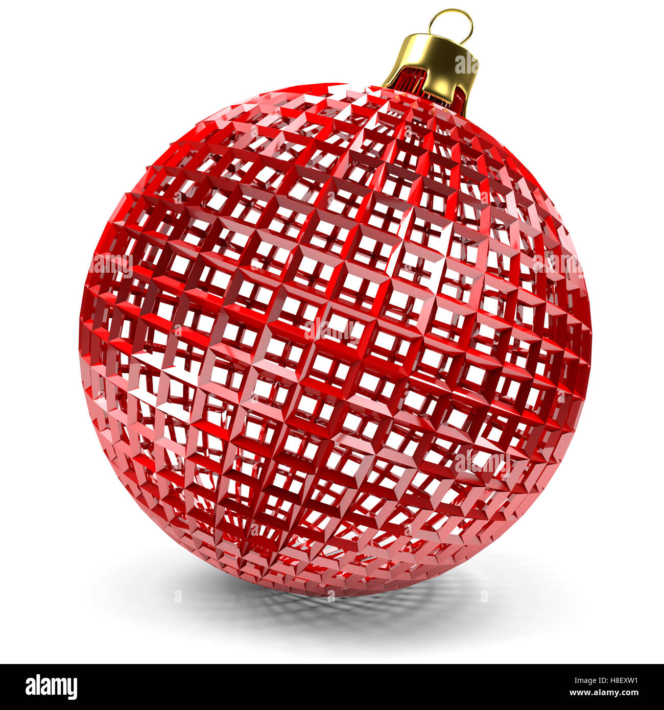 closeup of the red openwork Christmas bauble, 3d rendering - Stock Image