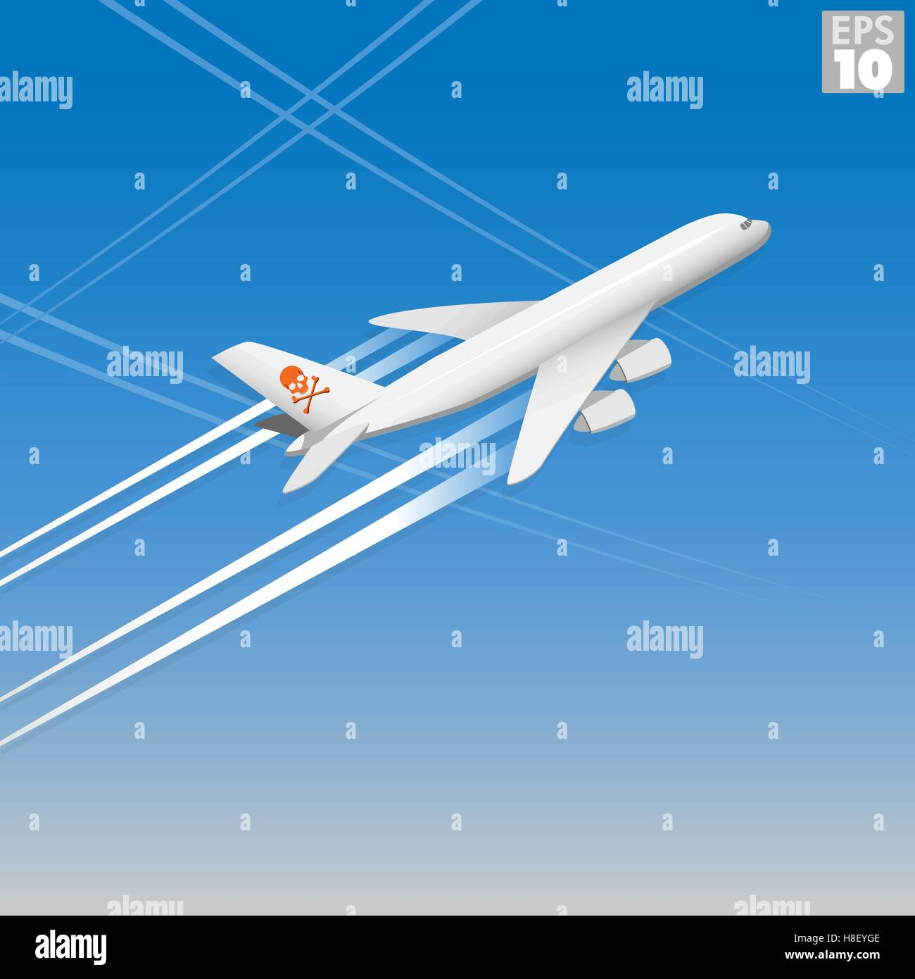 Airplane releasing chemtrails into the atmosphere - Stock Vector